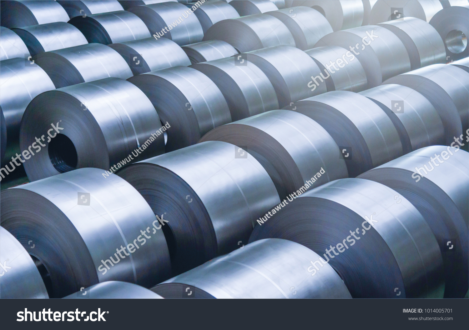 Cold rolled steel coil at storage area in steel industry plant.