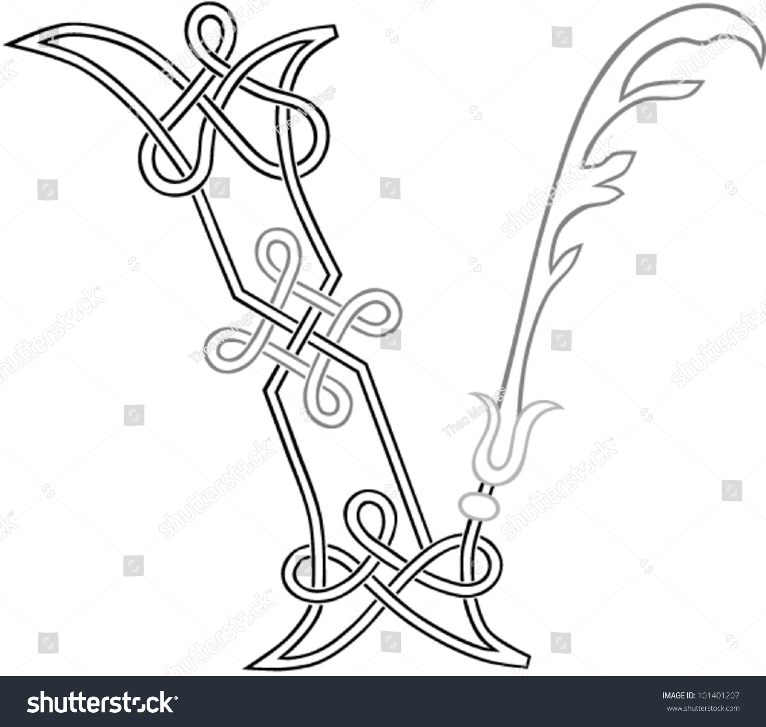 Celtic Knotwork Capital Letter V Stylized Stock Vector 101401207 ...