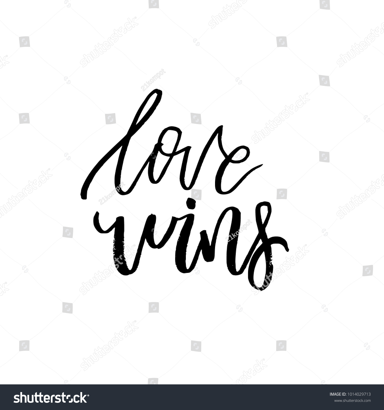 Love wins happy valentines day card stock vector 1014029713 love wins happy valentines day card with calligraphy text on white template for greetings kristyandbryce Images