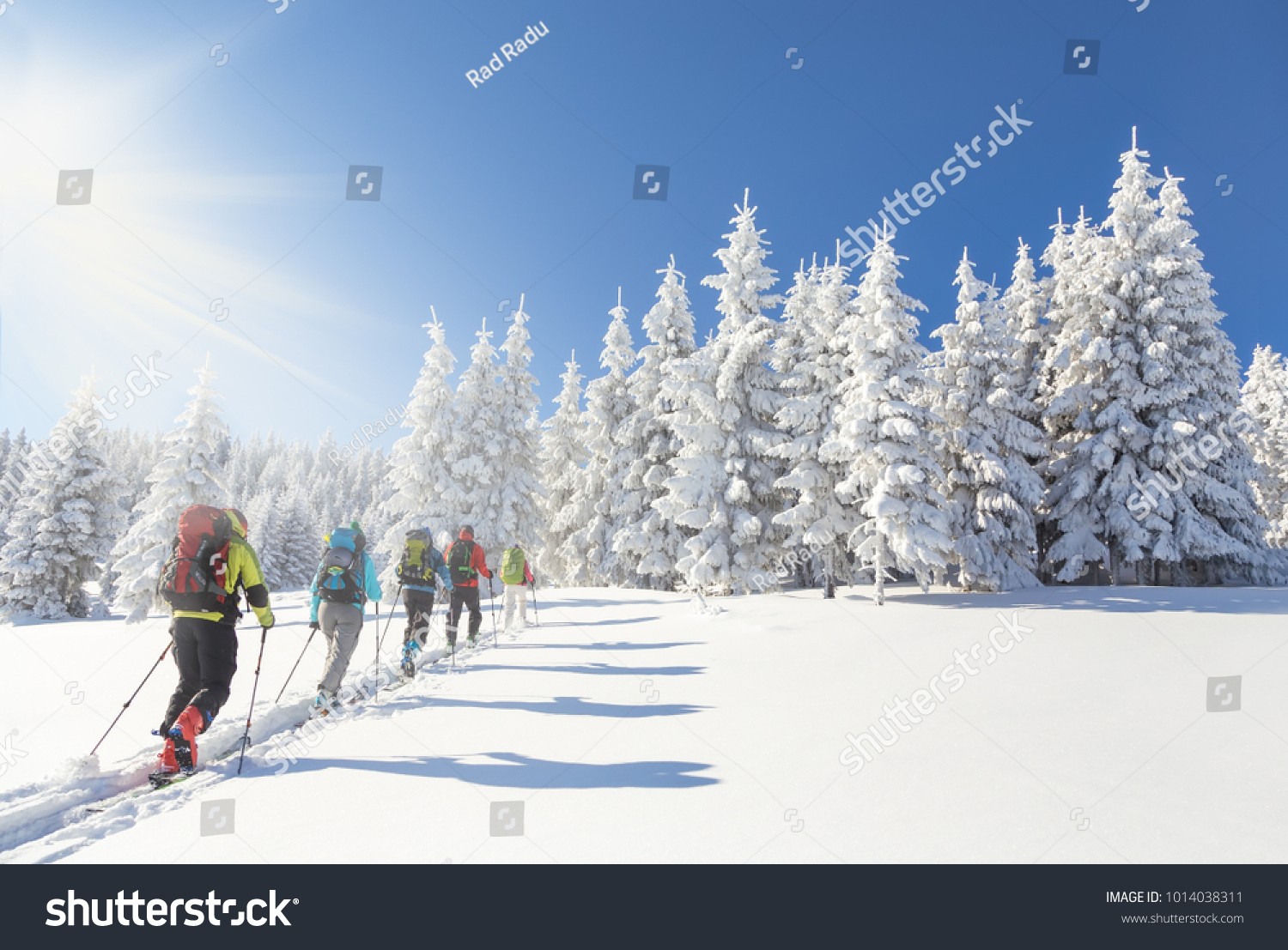 Group 5 Backcountry Skiers Going Towards Stock Photo (Edit Now ...