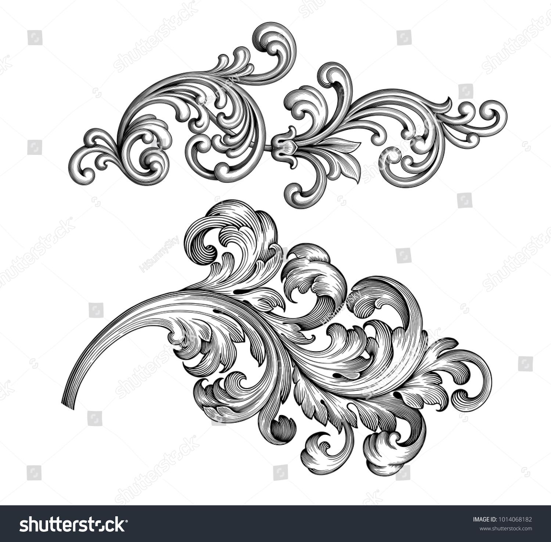 Vintage Baroque Victorian Frame Border Tattoo Stock-Vektorgrafik ...