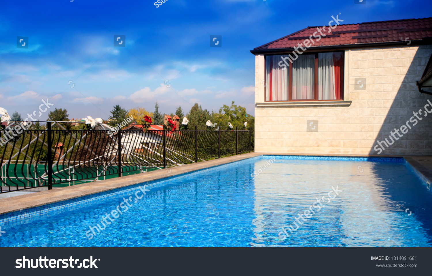 Swimming Pool On Roof Top With Beautiful City View