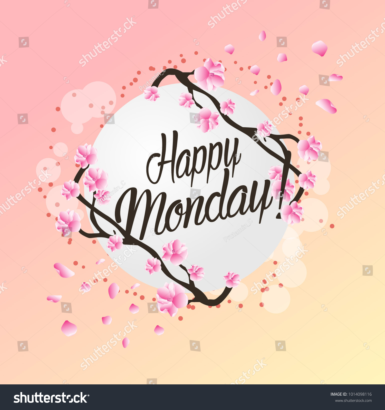 Happy Monday Beautiful Greeting Card Flower Stock Vector Royalty