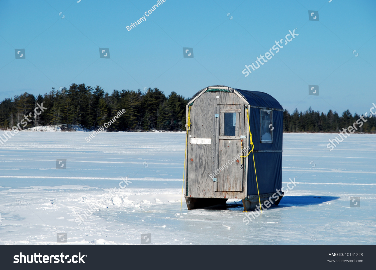 Homemade ice fishing shack on frozen stock photo 10141228 for Ice fishing near me