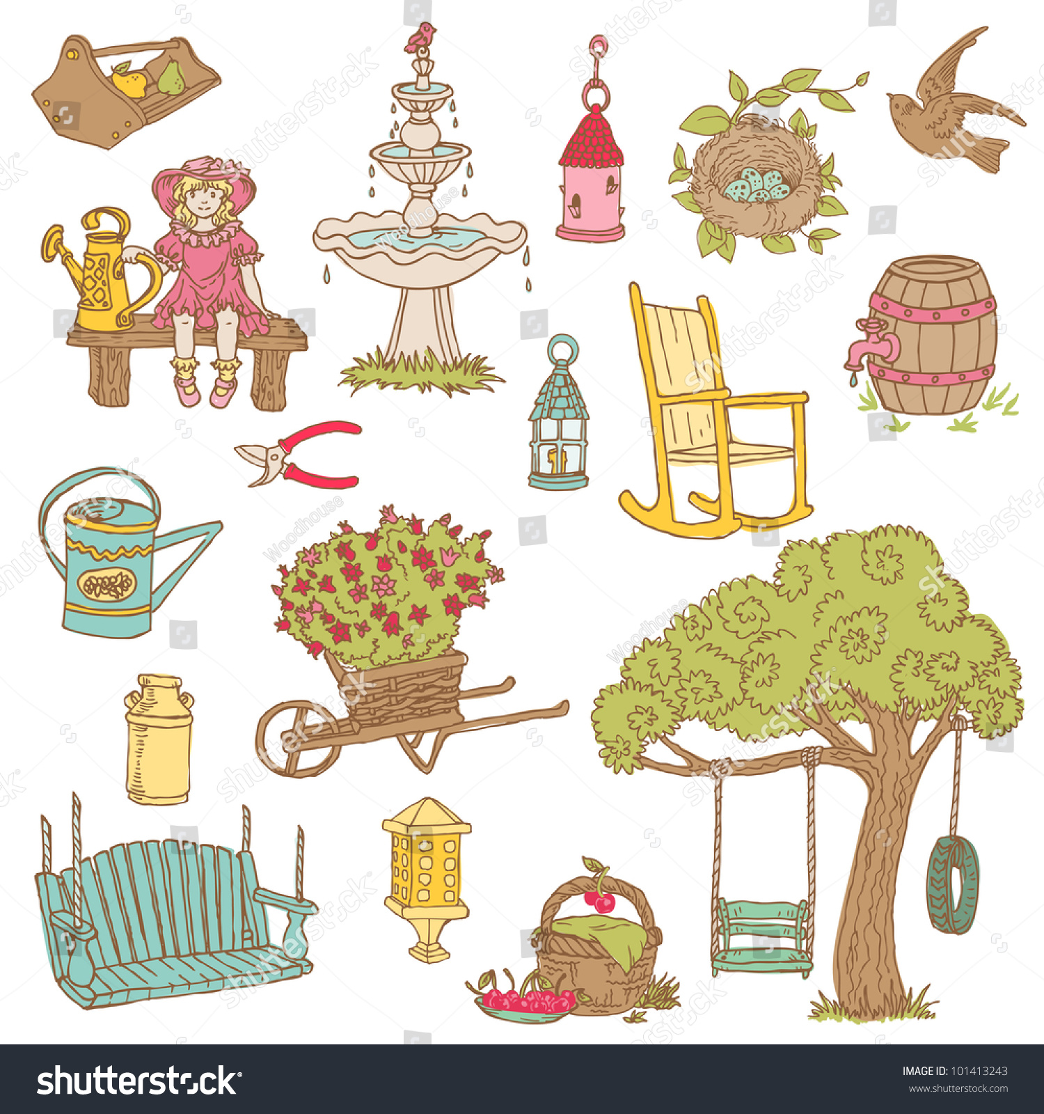 Garden Stock Image Image Of Design: Colorful Summer Garden Doodles