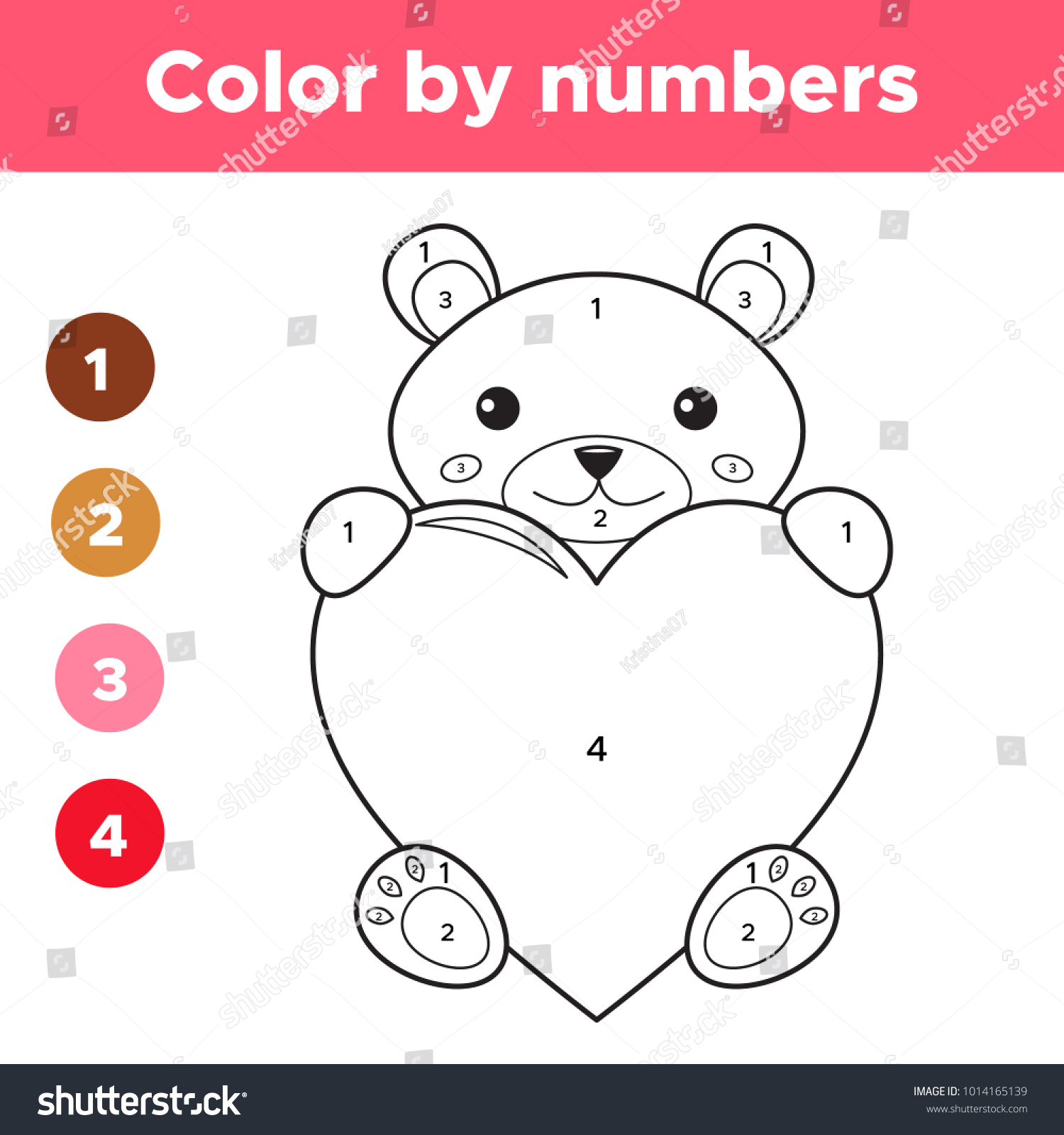 Color By Numbers Preschool Kids Valentines Stock Vector 1014165139 ...