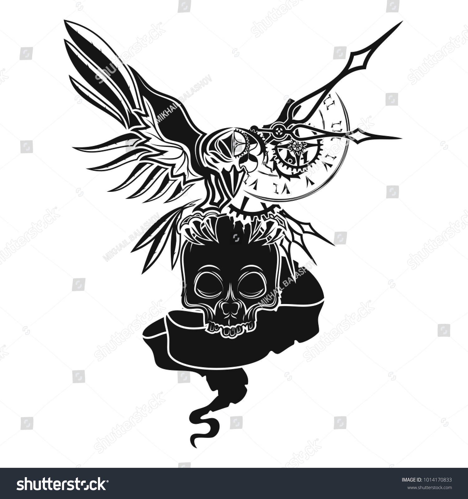 Vector Image Twofaced Raven Live Mechanical Stock Vector Royalty