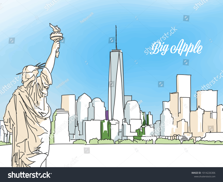 New York Big Apple Panorama Banner Stock Vector 1014226306