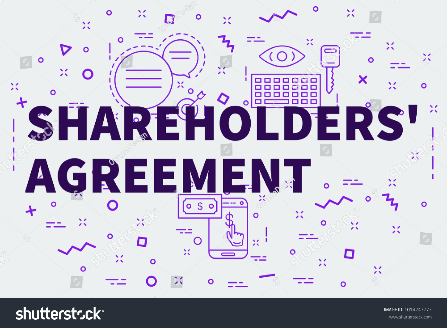 Conceptual Business Illustration Words Shareholders Agreement Stock ...