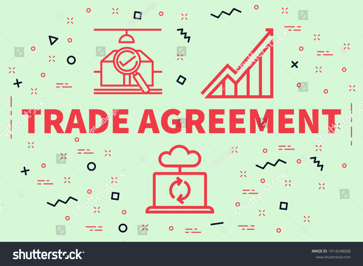 Conceptual Business Illustration Words Trade Agreement Stock ...