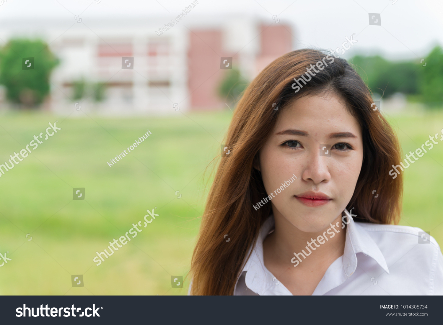 portrait beautiful thai student cute asian girl stock photo (royalty