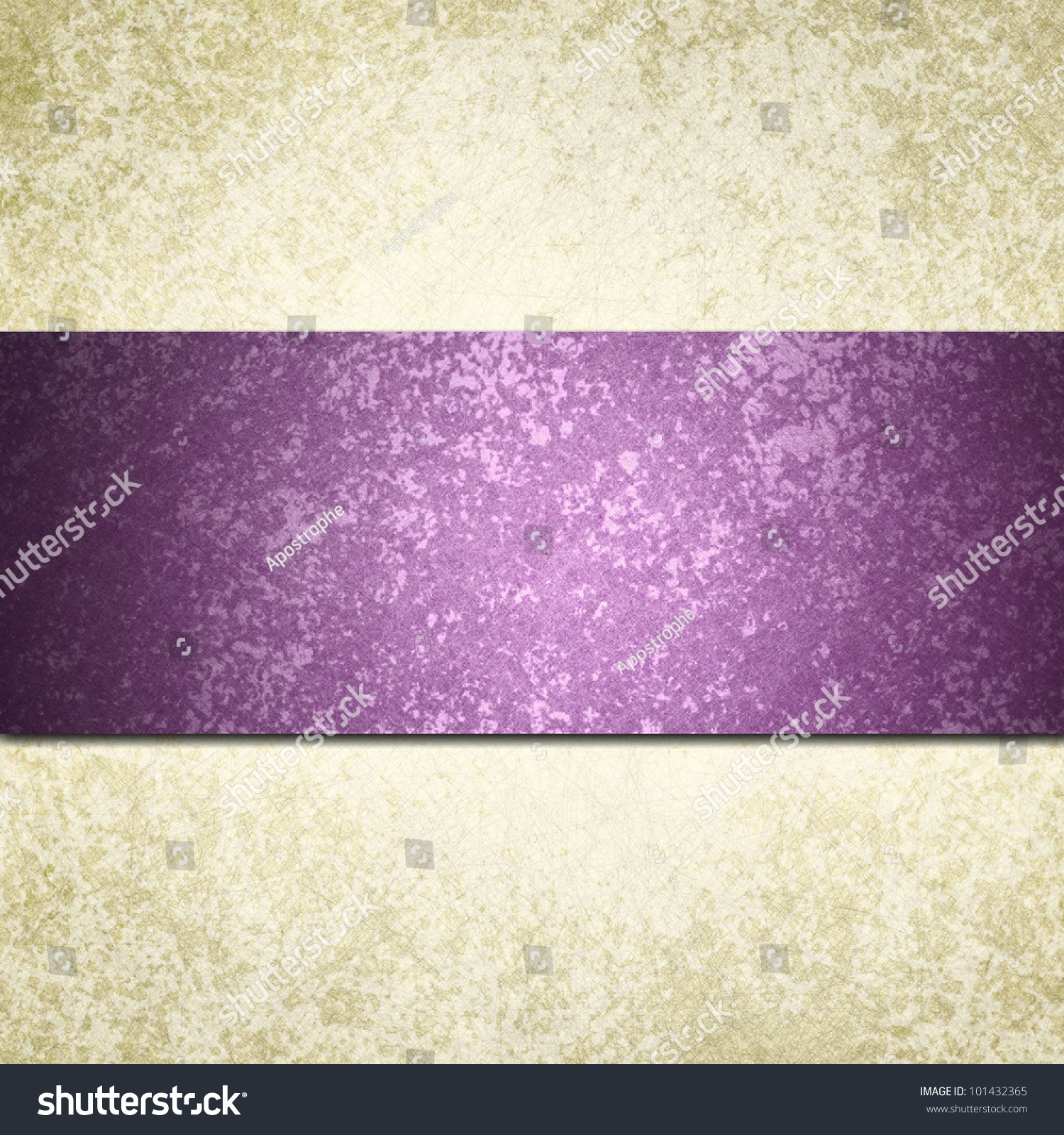 formal white background with purple ribbon or stripe and vintage grunge background texture
