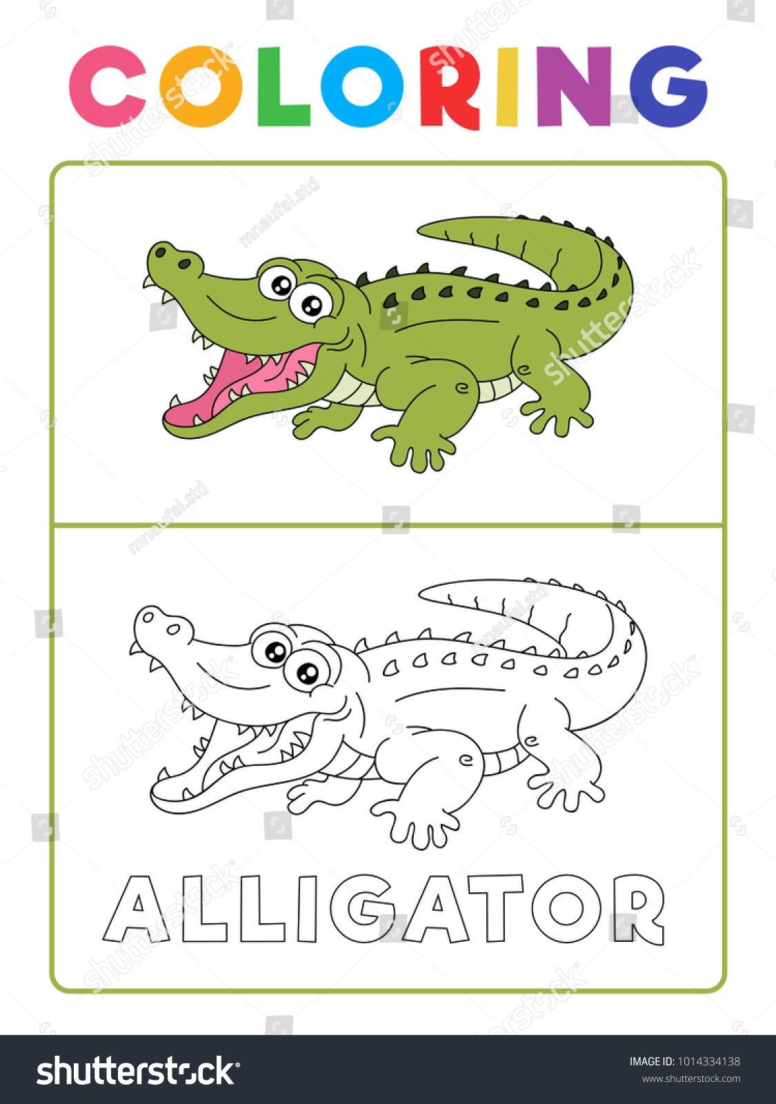 Funny Alligator Crocodile Animal Coloring Book Stock Vector (Royalty ...