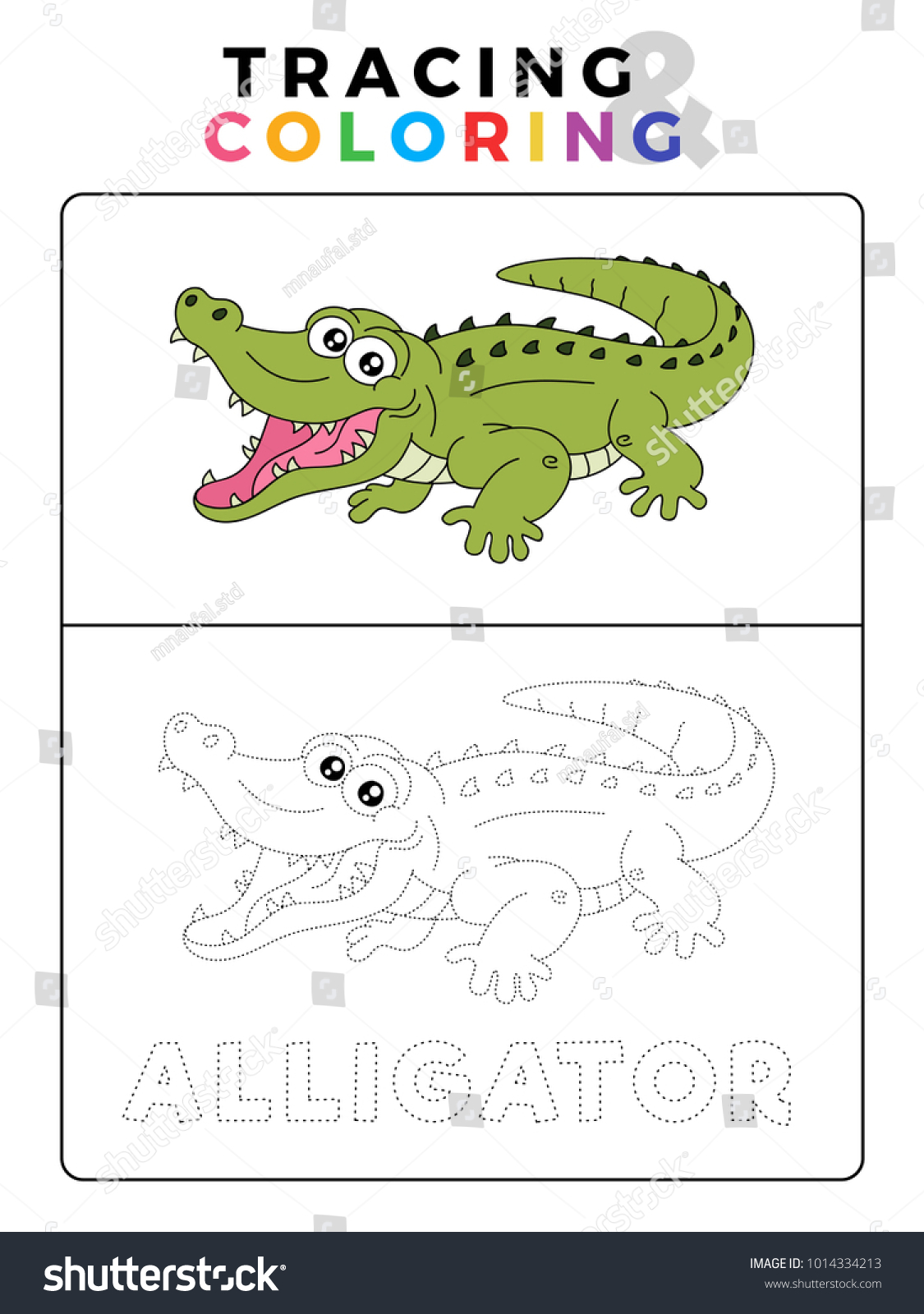 Funny Alligator Crocodile Animal Tracing Coloring Stock Vector ...