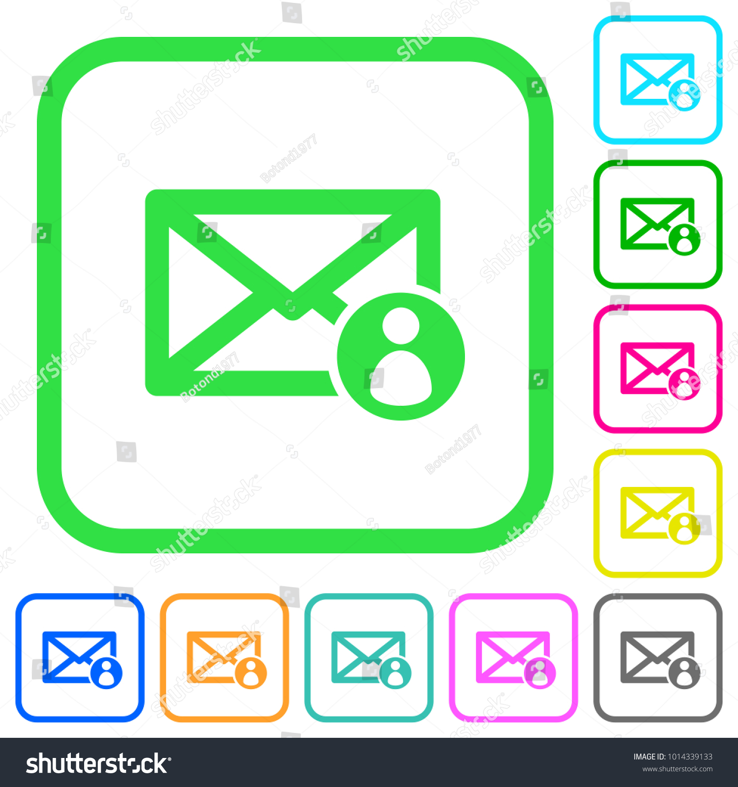 Mail Sender Vivid Colored Flat Icons Stock Vector (Royalty