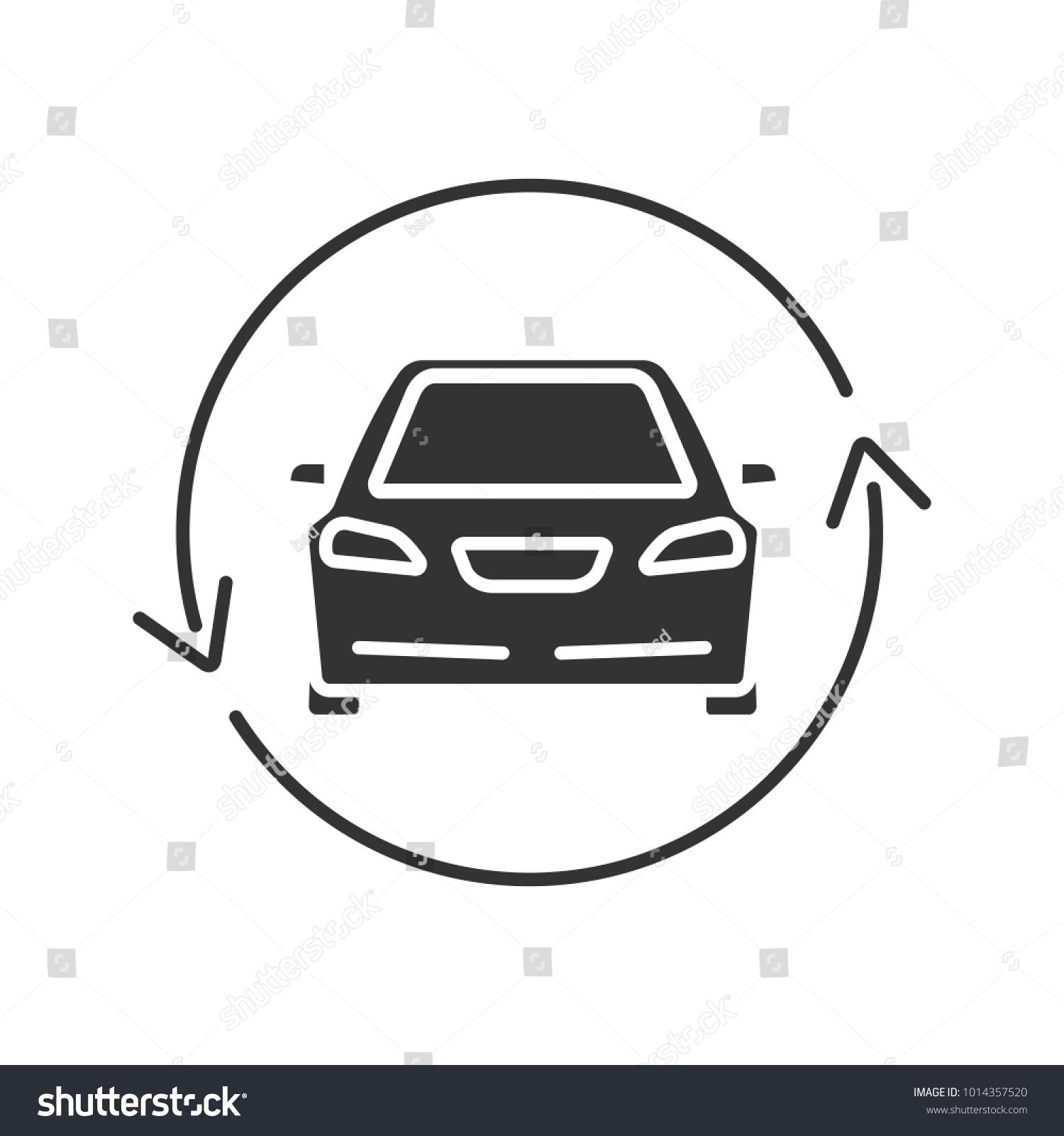 Car Circle Arrow Glyph Icon Complete Stock Vector Royalty Free