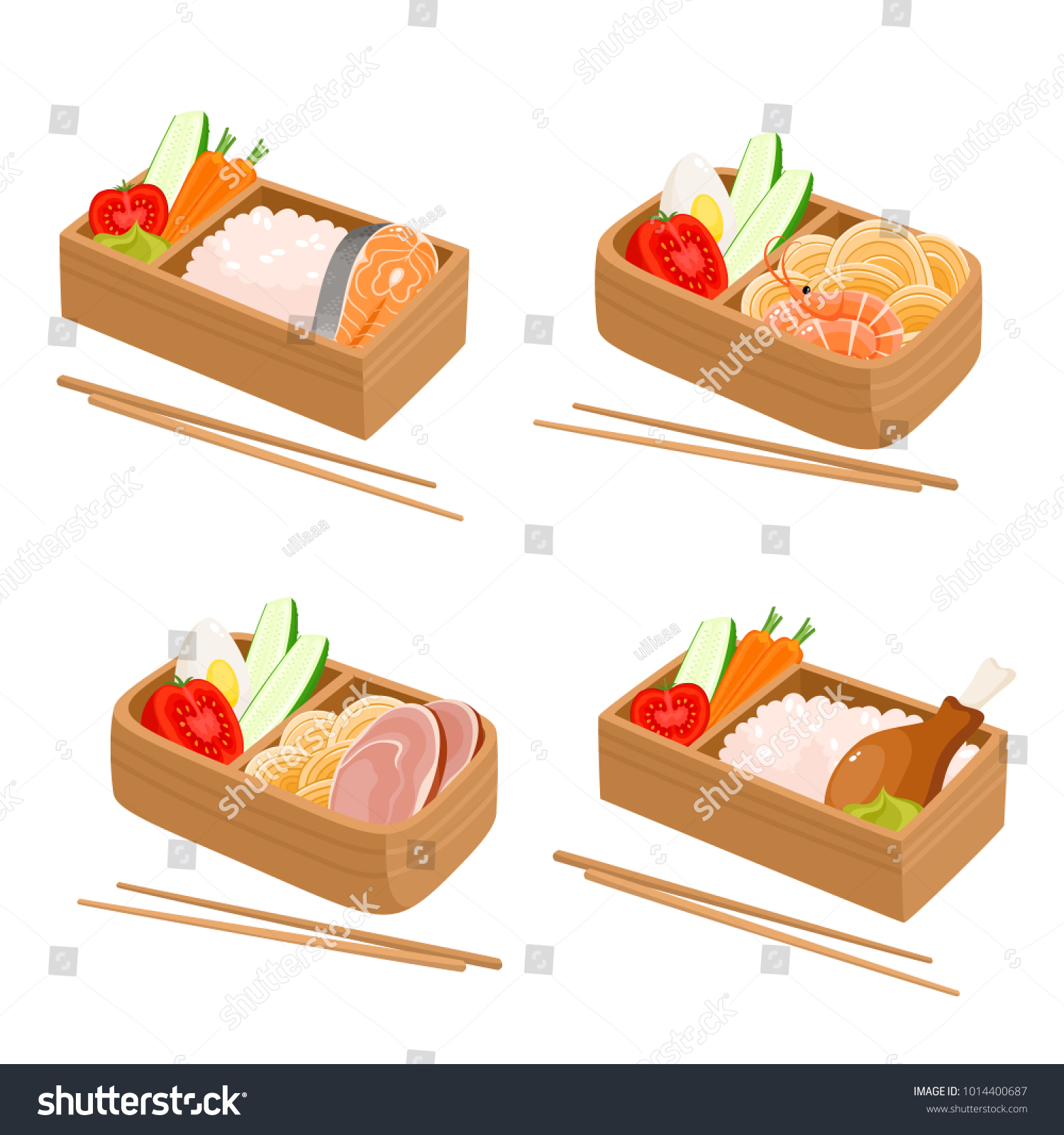 Vector Set Japanese Bento Box Isolated Stock Vector 1014400687 ...