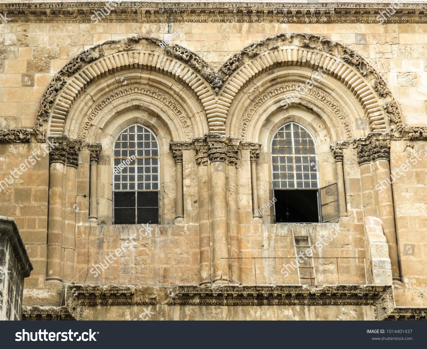 Jerusalem, Israel - closeup of the Church of the Holy Sepulchre in ...