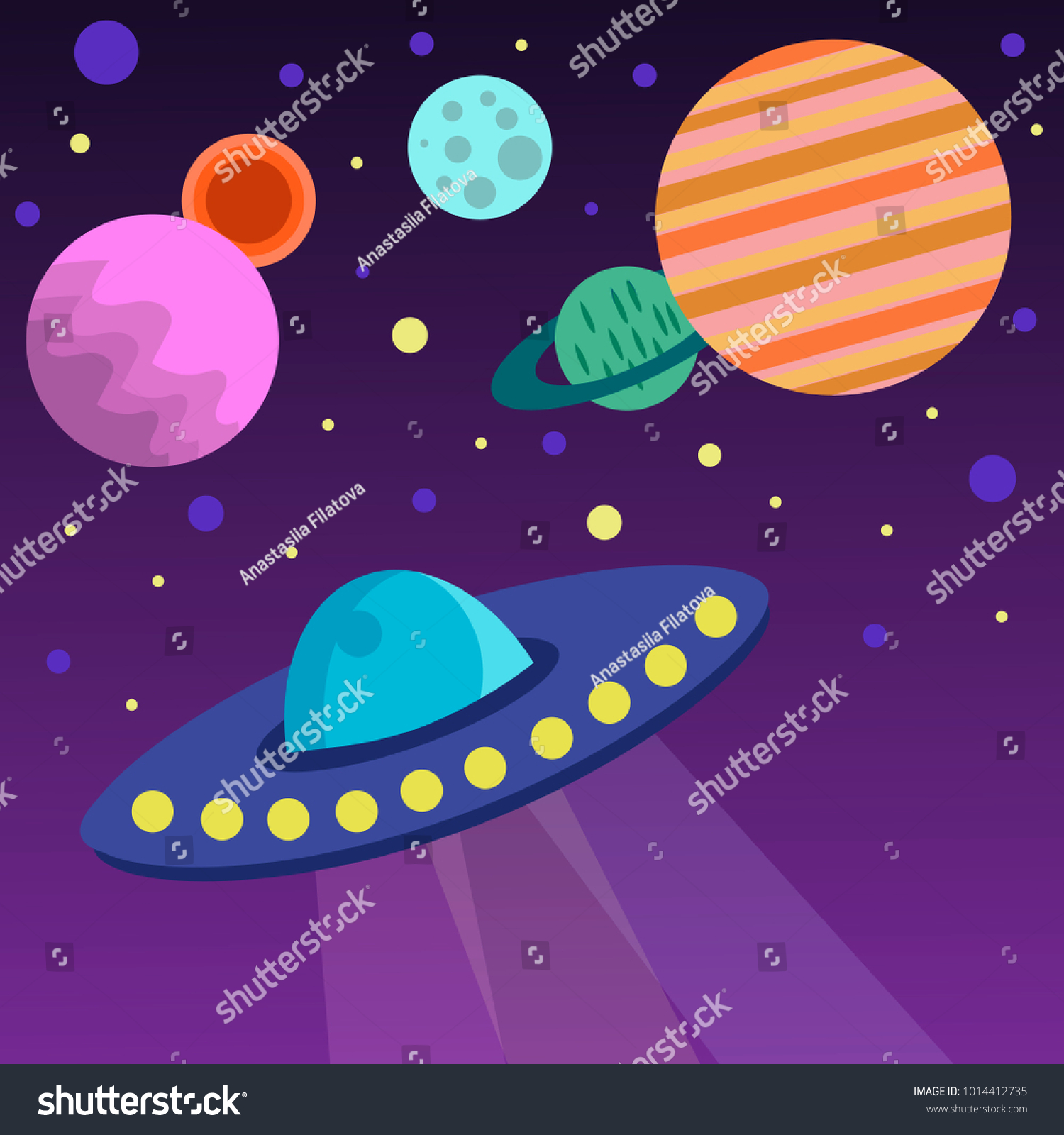 vector illustration space scene ufo planets stock vector 1014412735