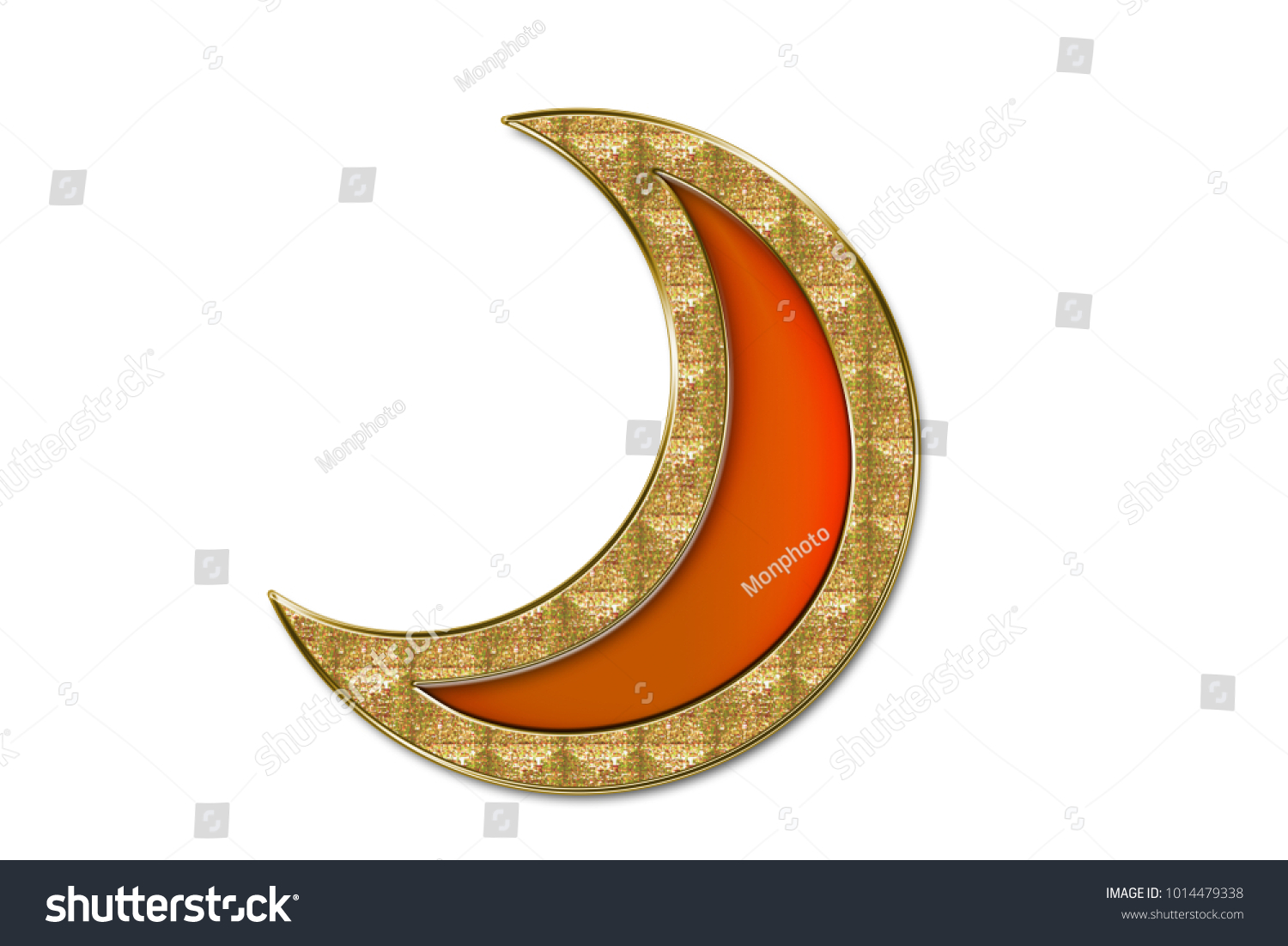Orange Moon Shaped Jewel Golden Frame Stock Illustration 1014479338 ...