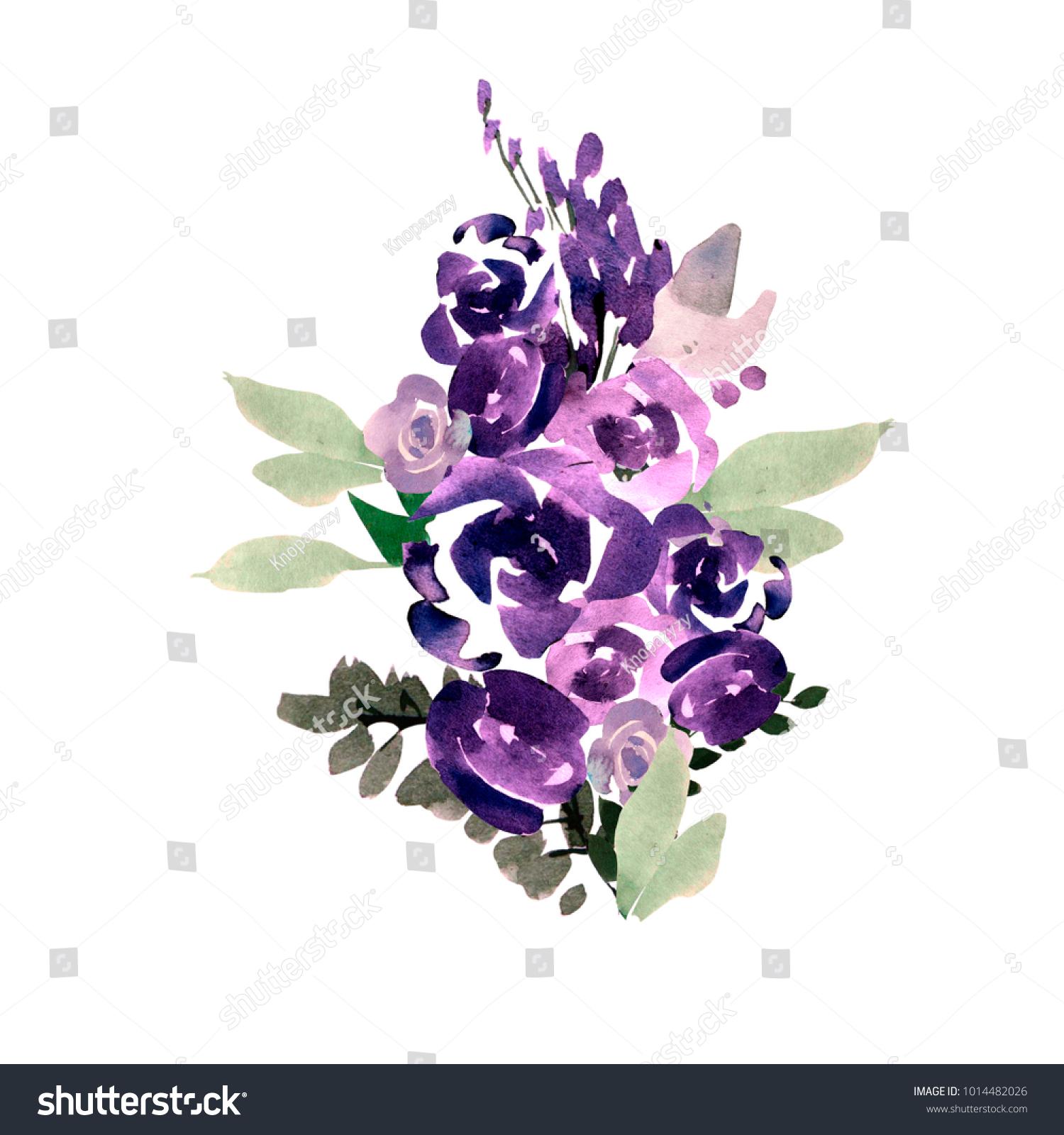 Beautiful Watercolor Wedding Bouquet With Purple Flowers