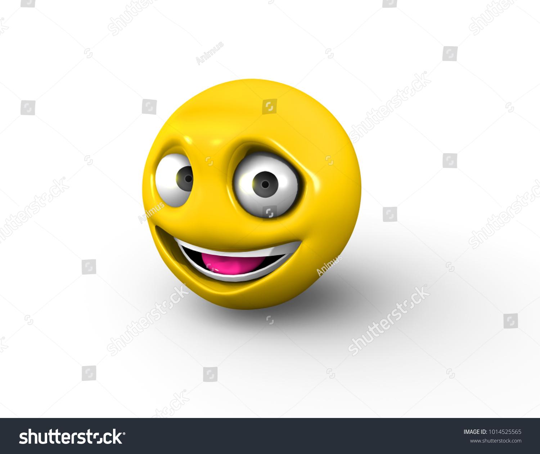 3 D Render Emoji Raised Eyebrows Smiling Stock Illustration