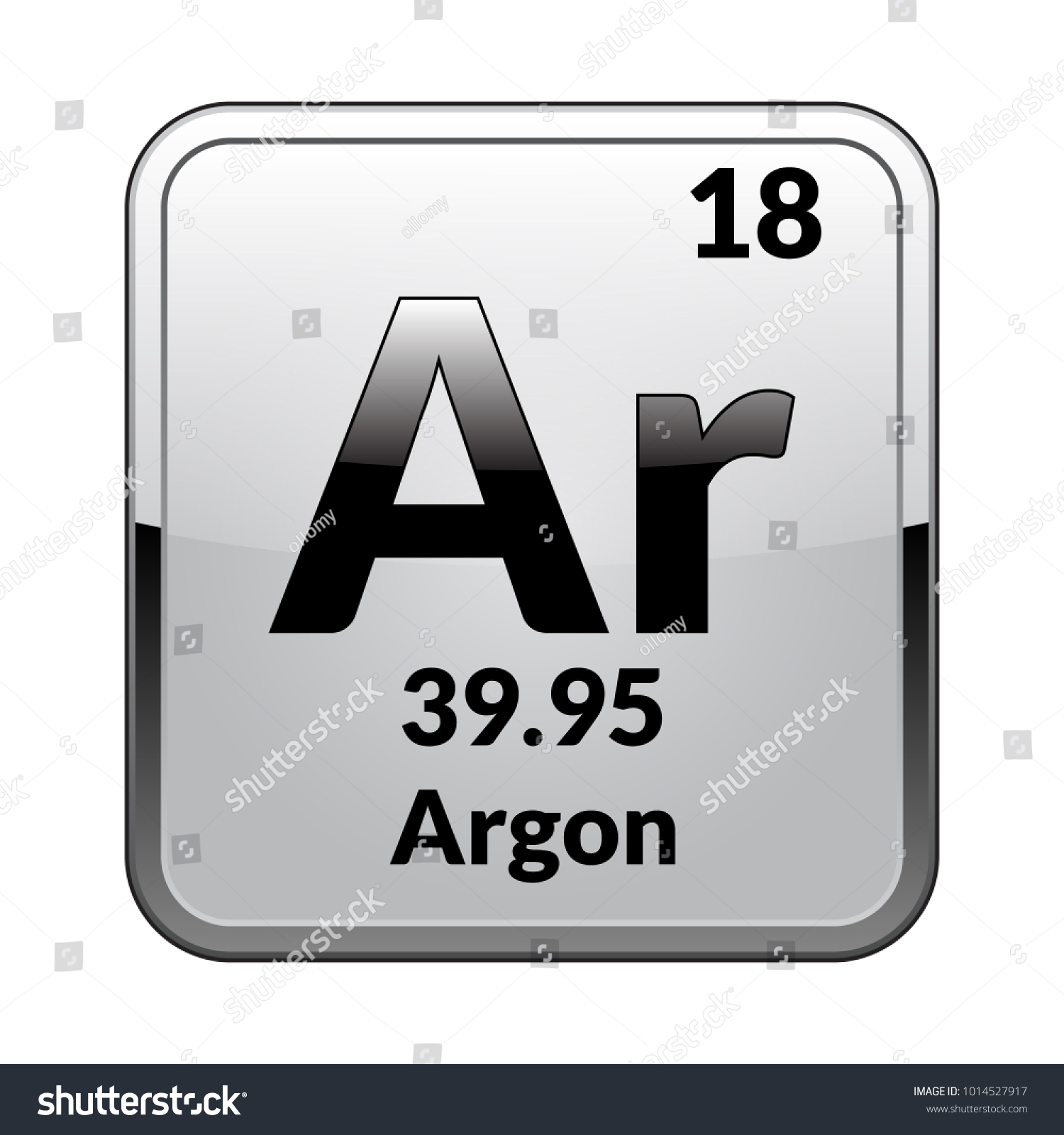 Argon Symbol Chemical Element Periodic Table On Stock Vector