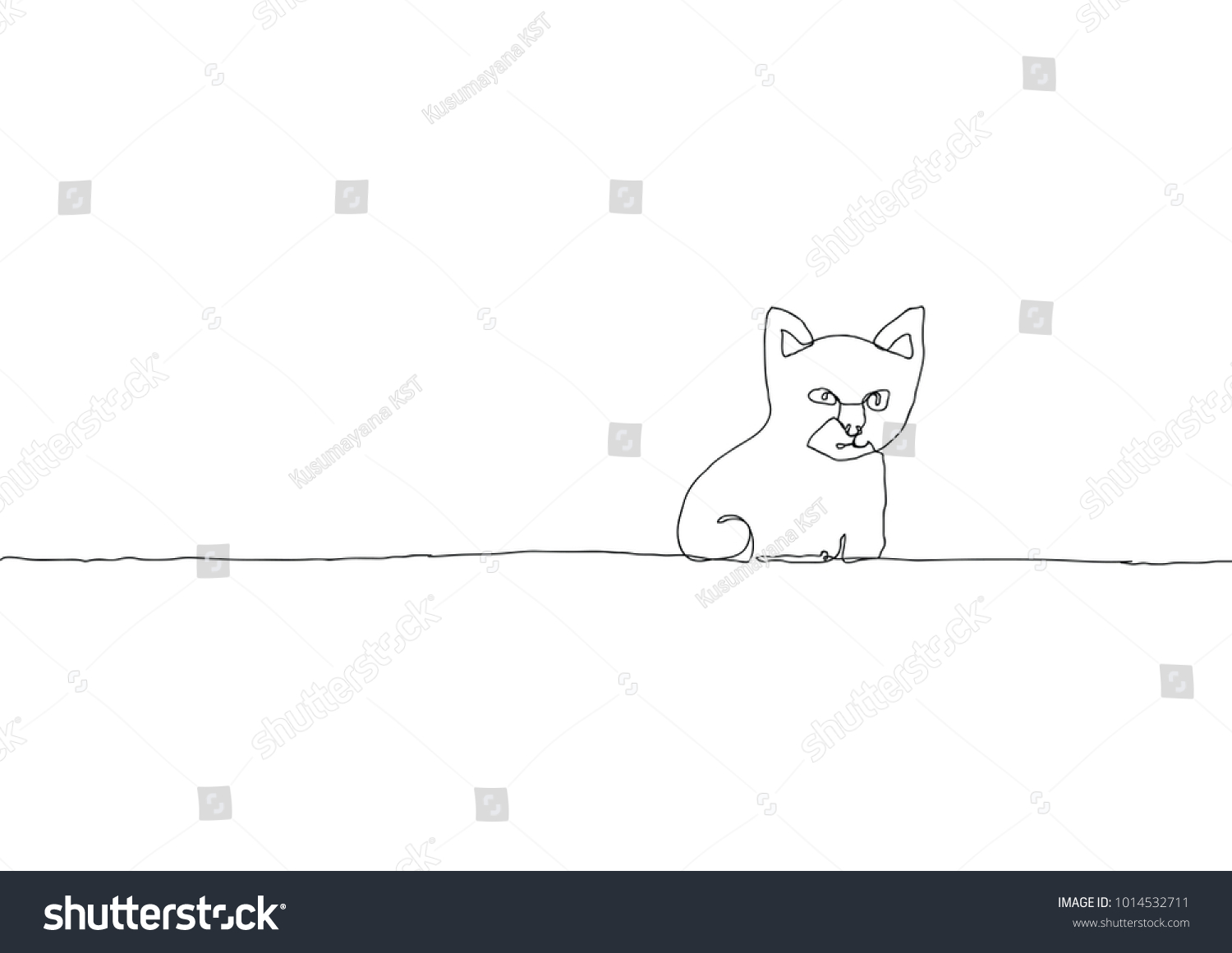 Simple Continuous Line Art : Cat continuous line drawing simple stock vector 1014532711