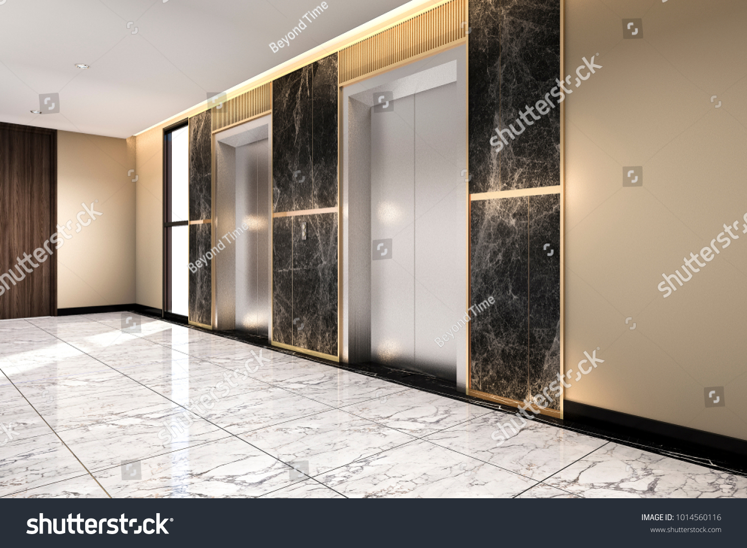 3 D Rendering Modern Steel Elevator Lift Stockillustration ...