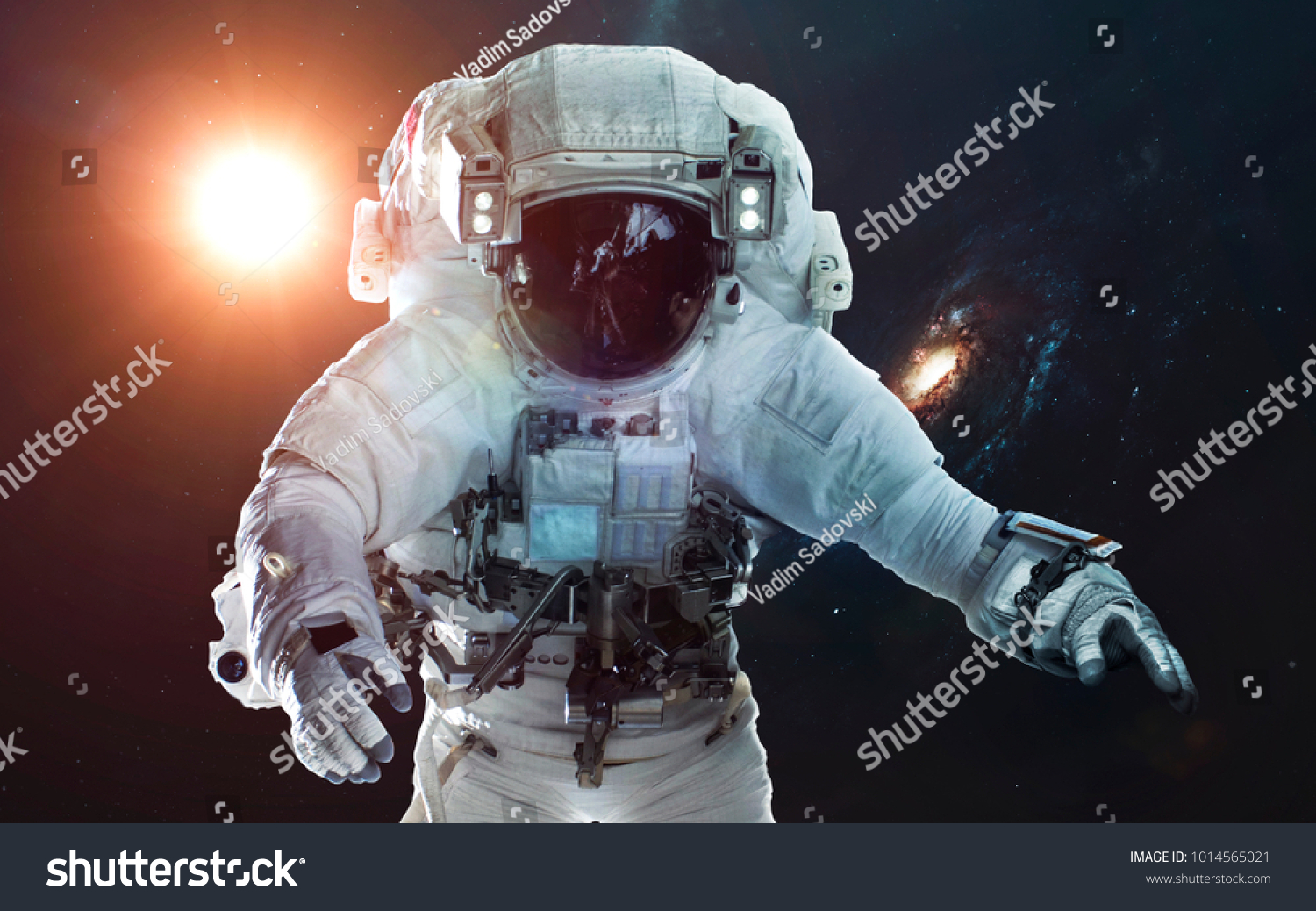 Astronaut In Deep Space Symbol Of Space Exploration Elements Of