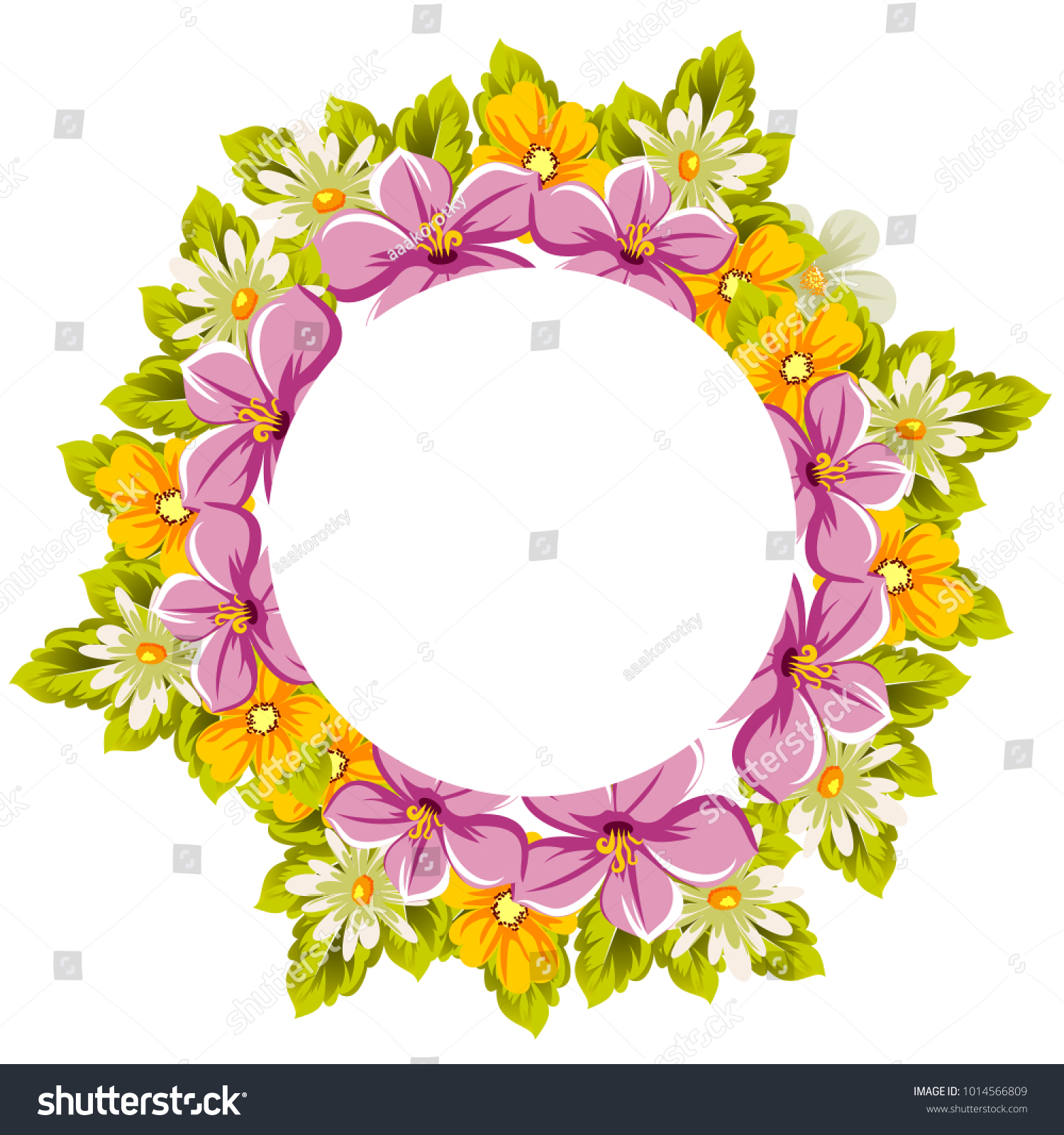 Beautiful Frames Your Text Flowers Design Stock Vector 1014566809 ...