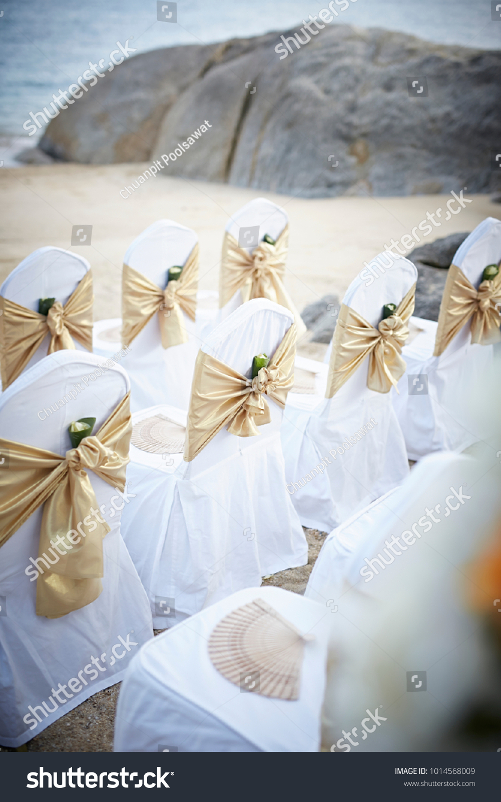 Wedding Decoration White Chairs Cover By Stock Photo Edit Now 1014568009