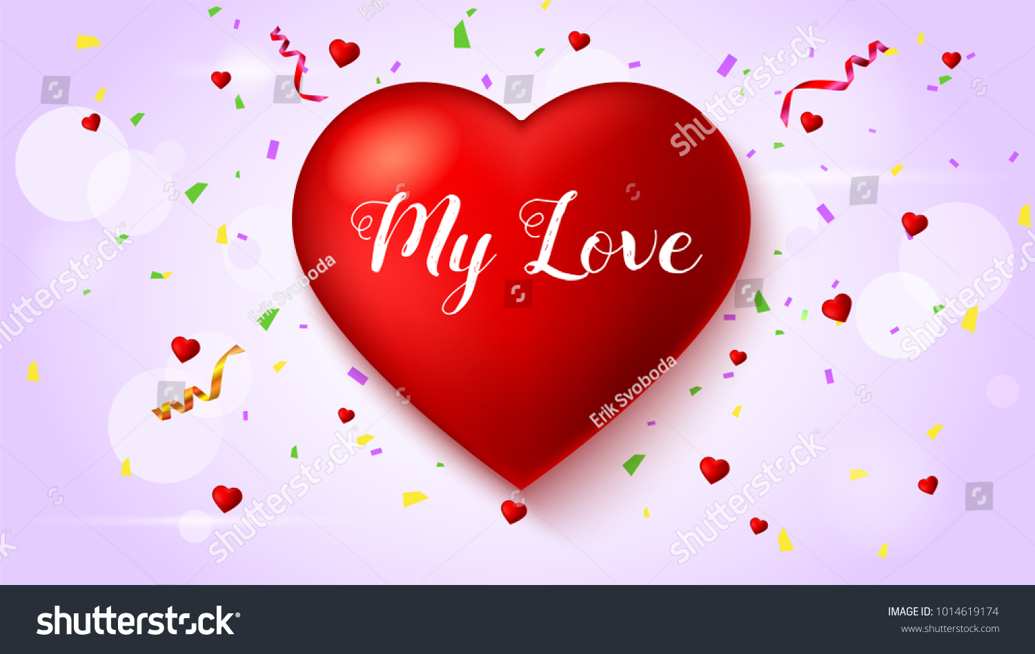 Romantic Greeting Card Big Red Heart Stock Illustration 1014619174