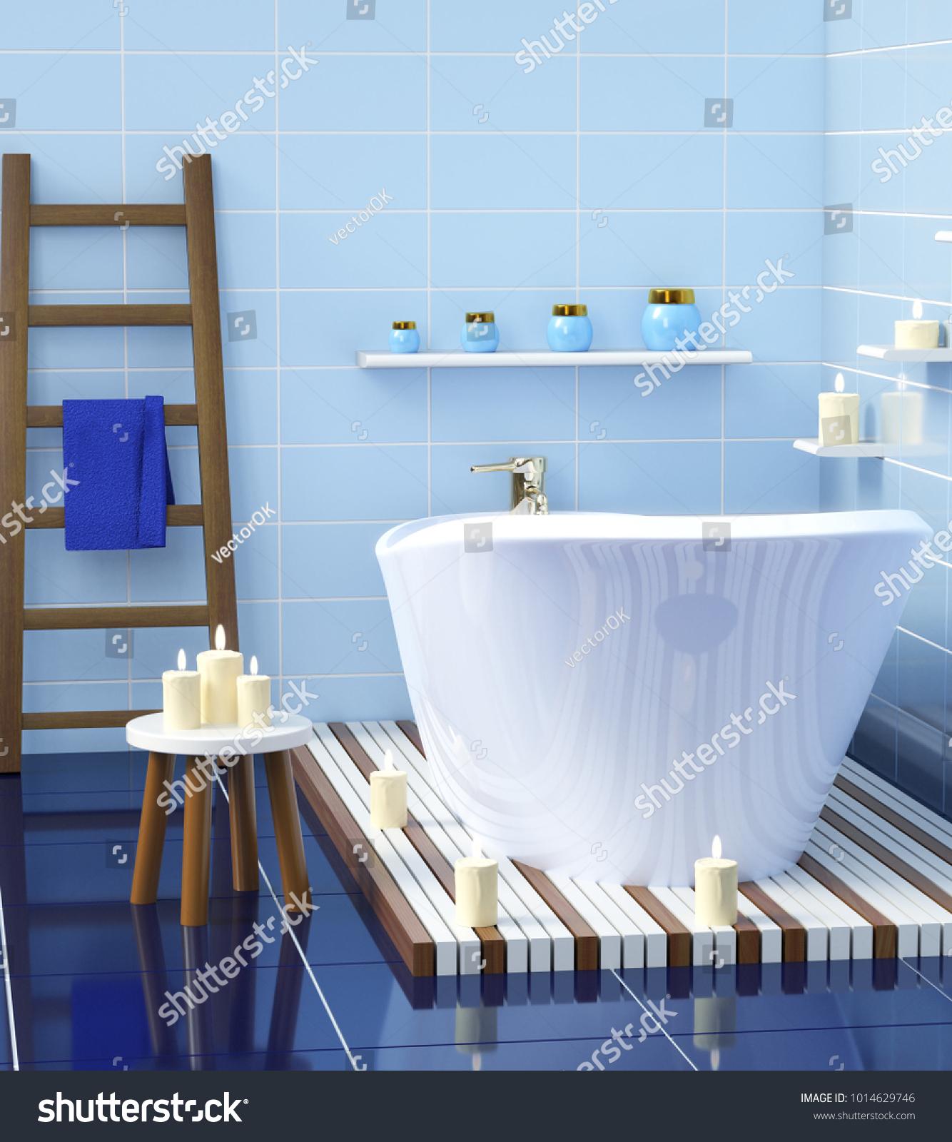 Modern Bathroom Ceramic Bath Candles 3 D Stock Illustration ...