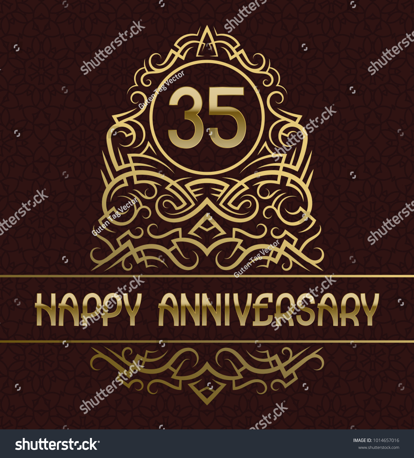 Happy anniversary greeting card template thirty stock vector happy anniversary greeting card template for thirty five years celebration vintage design with golden elements kristyandbryce Choice Image