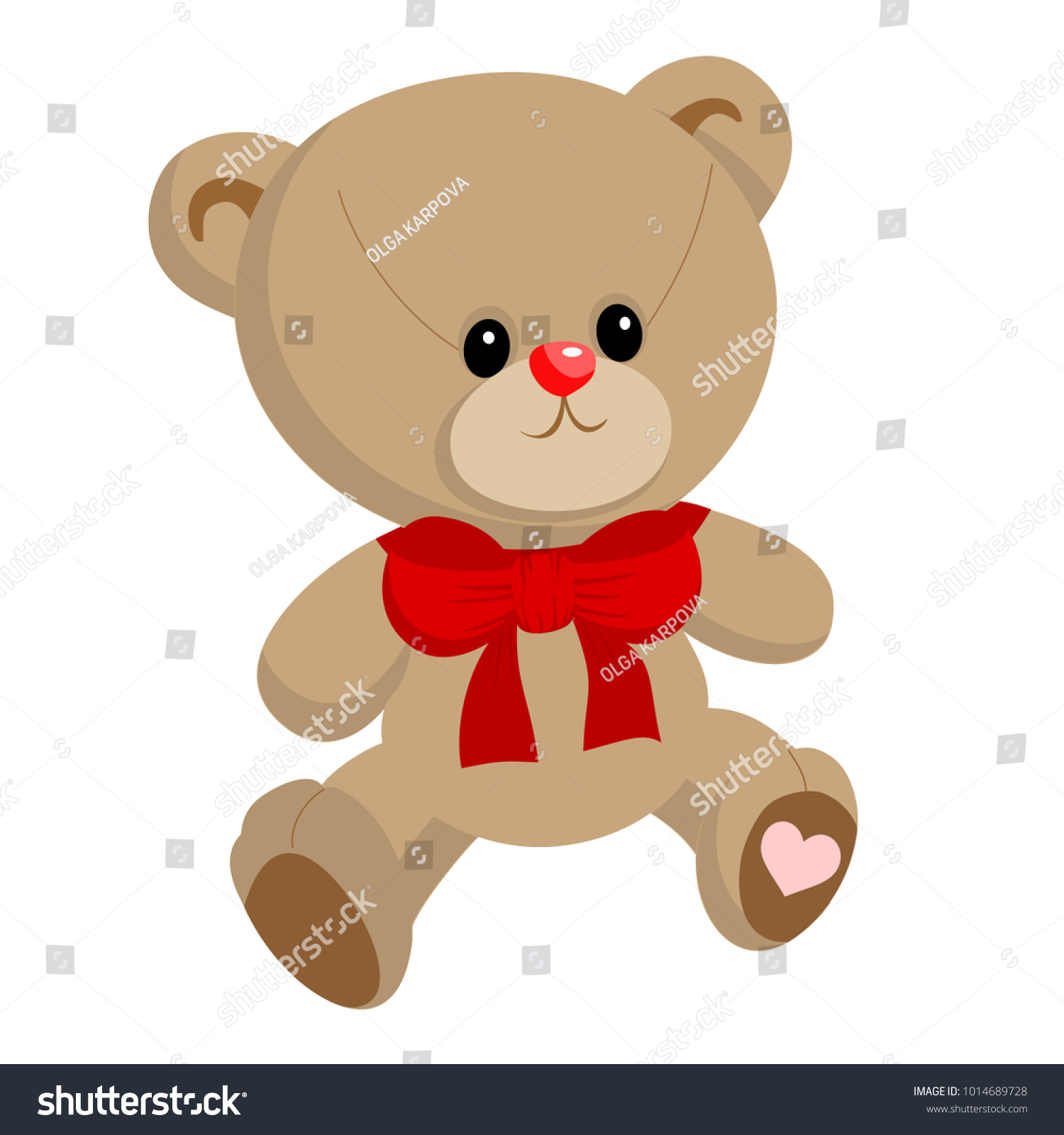 Cute Little Teddy Bear Boy Red Stock Vector 1014689728 - Shutterstock