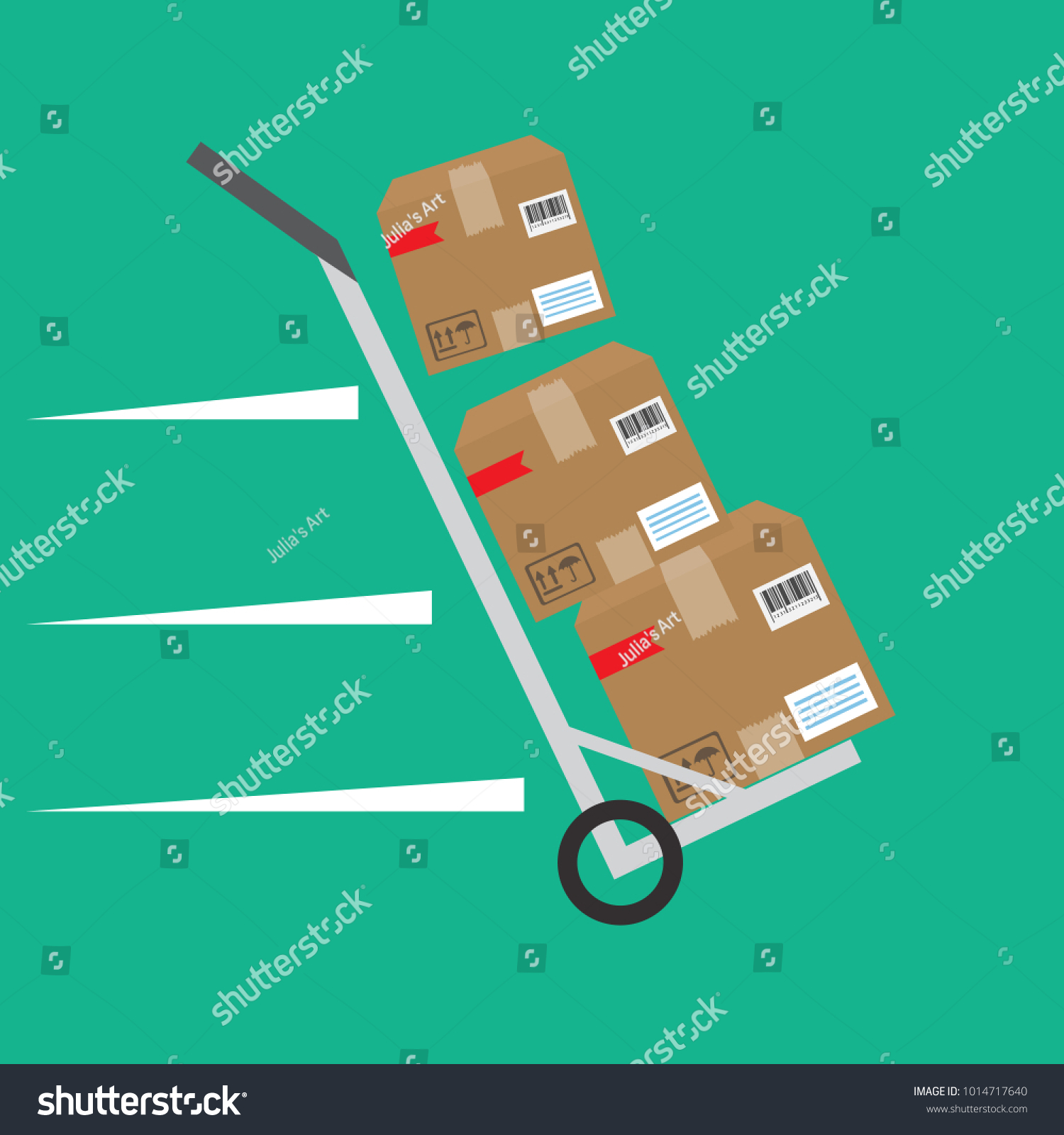 Packages Delivery Trolley Vector Icon Stock Vector (Royalty Free