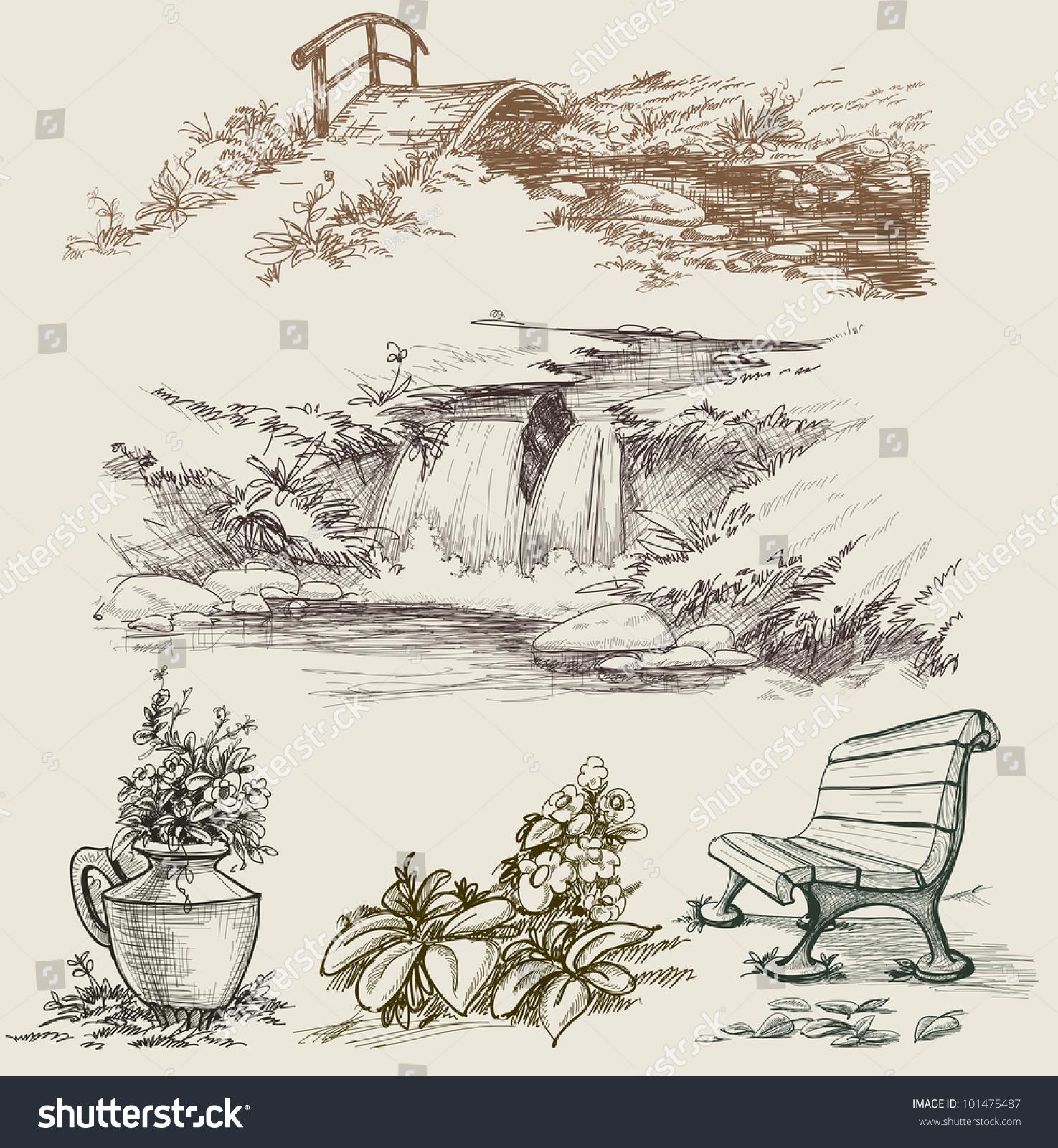 Park or garden design elements stock vector illustration for Garden design elements