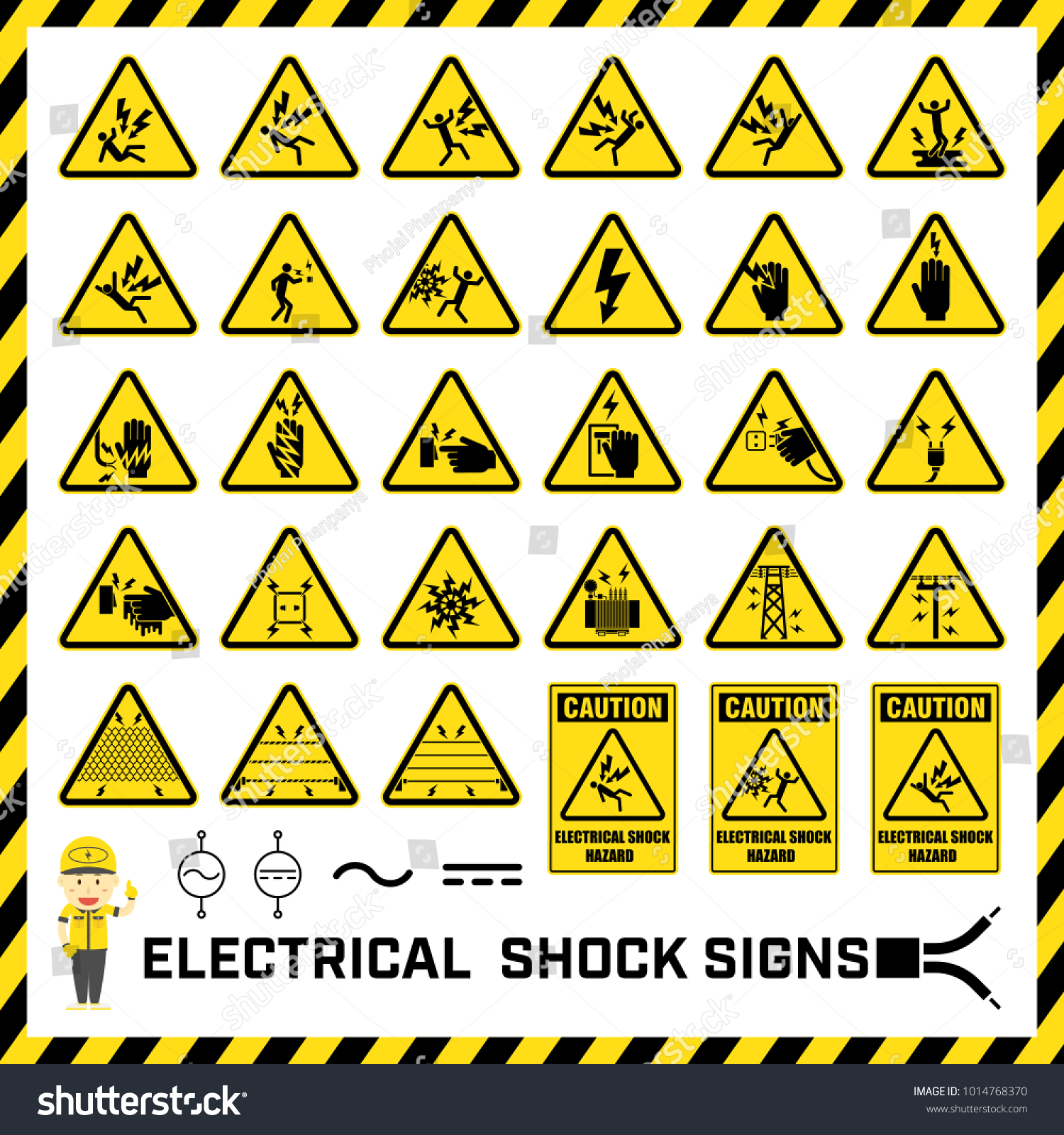 Set Safety Caution Signs Symbols Electrical Stock Vector (Royalty