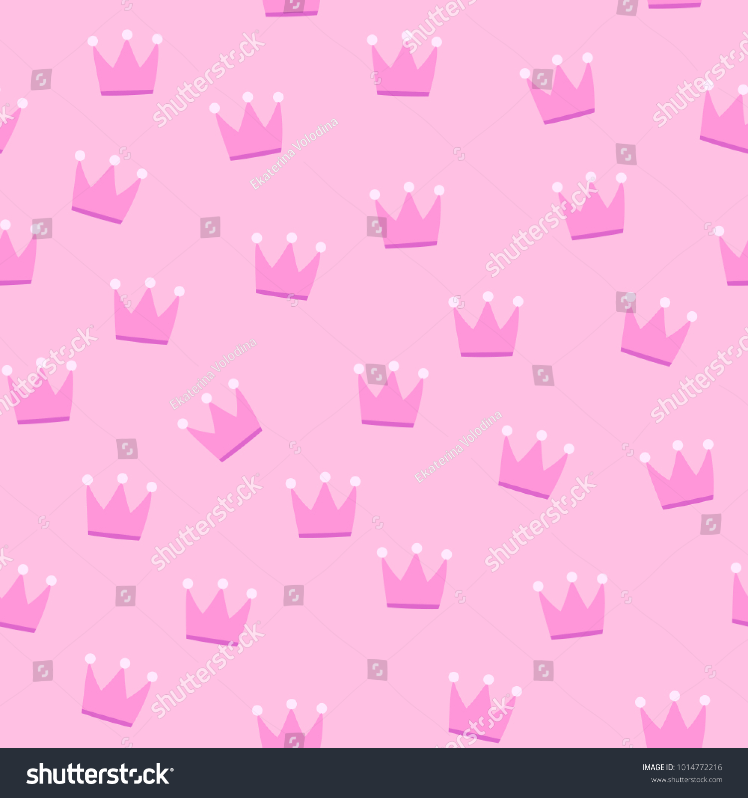 Pink Crowns On Pink Background Seamless Stock Vector Royalty Free