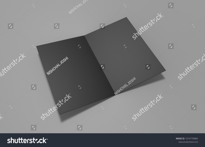 black a 3 halffold brochure on greyのイラスト素材 1014776884