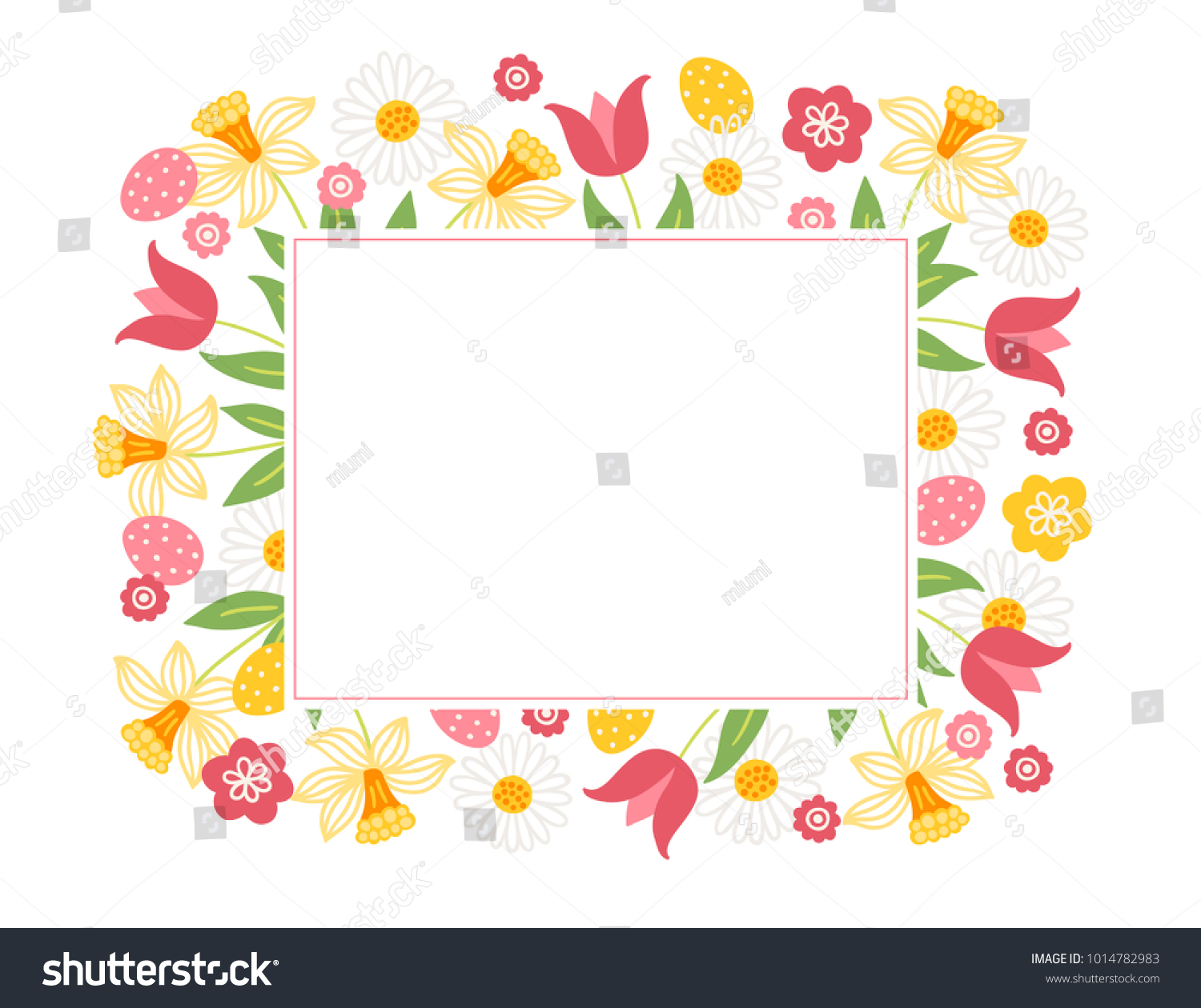 Easter Greeting Card Narcissus Tulips Eggs Stock Vector Royalty