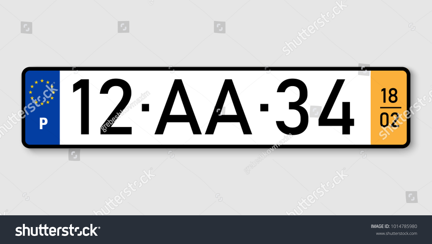 Number Plate Vehicle Registration Plates Portugal Stock Vector ...
