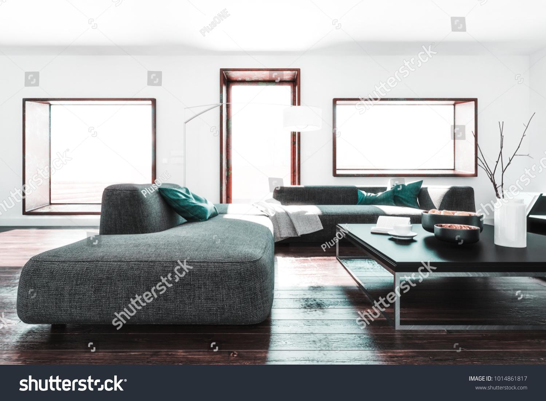 Room White Walls Long Sofa Coffee Stock Illustration 1014861817 ...