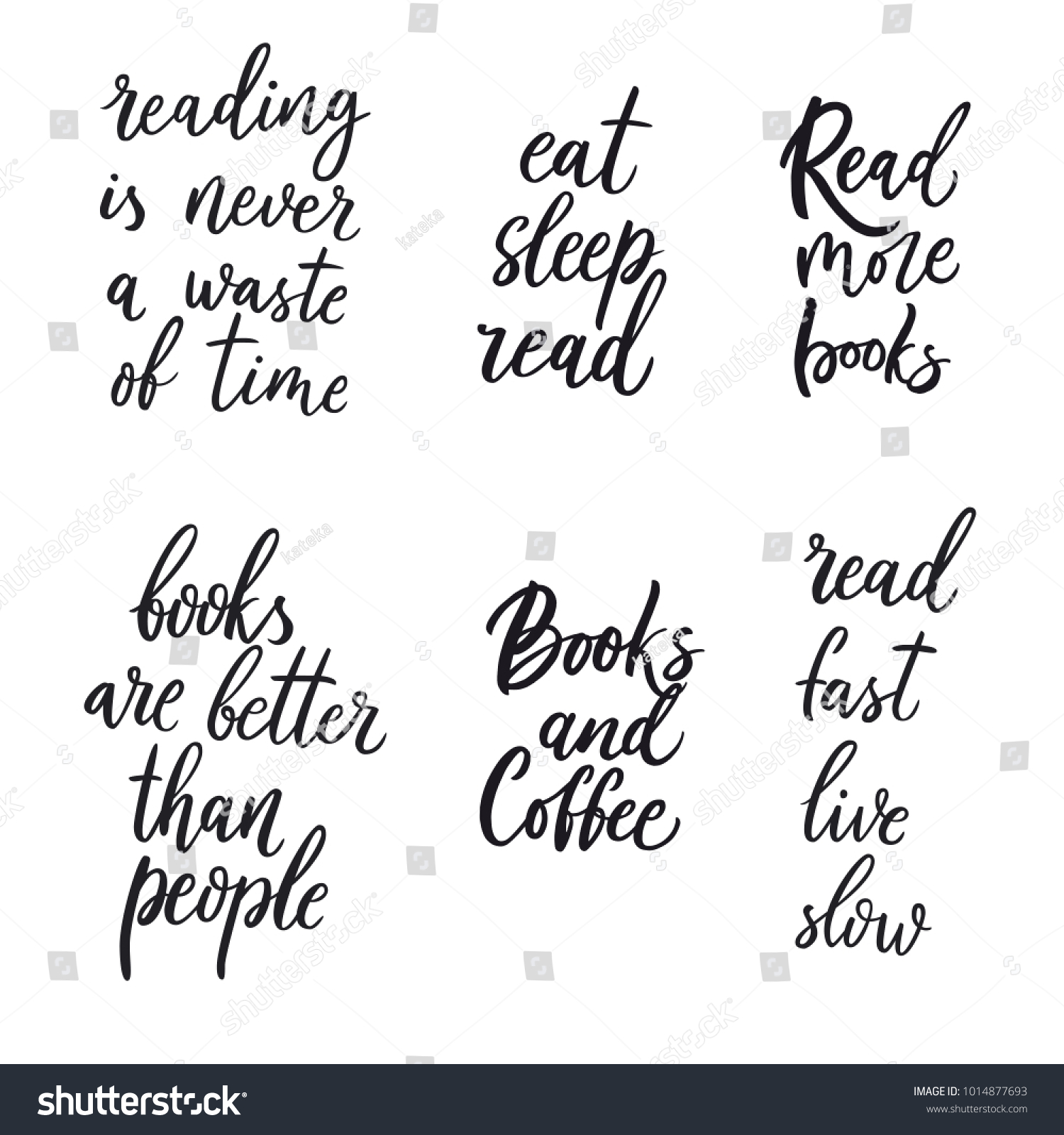 Set of quotes about books and reading vector illustration on white background hand drawn