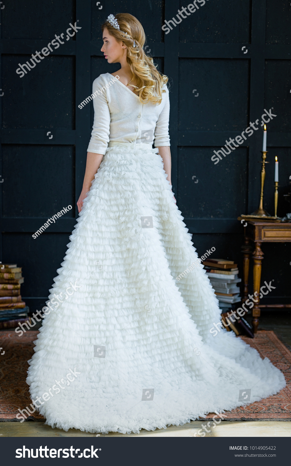 Young Beautiful Woman Elegant Wedding Dress Stock Photo (100% Legal ...