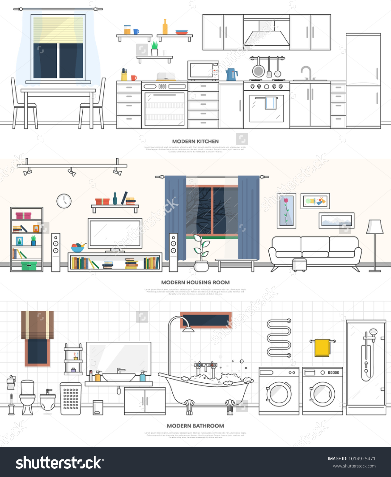 Modern Interiors Kitchen Living Room Bathroom Stock Vector