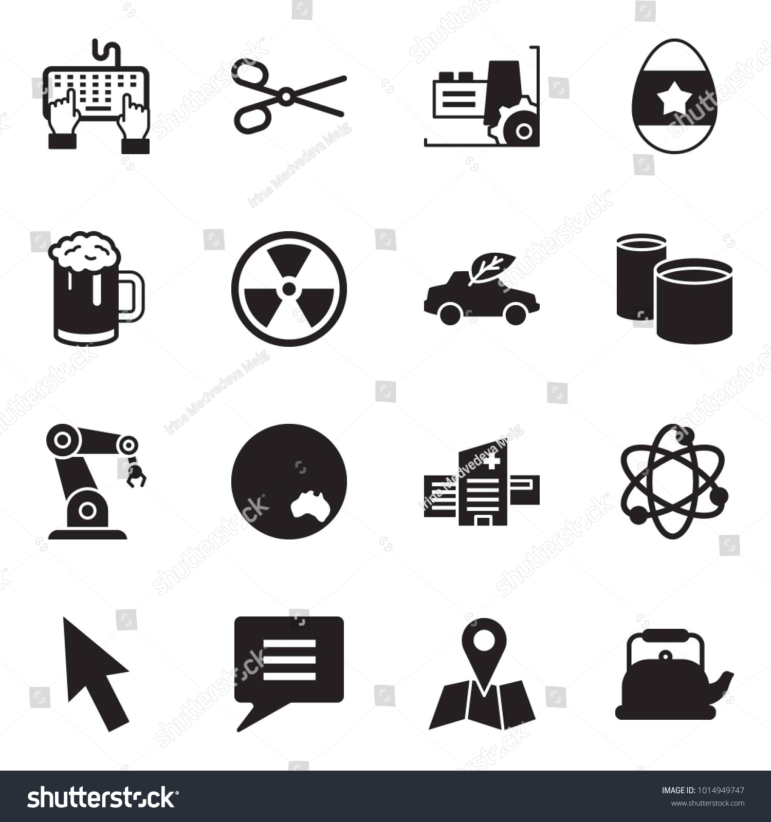 Solid black vector icon set keyboard stock vector 1014949747 solid black vector icon set keyboard hand vector scissors factory easter egg buycottarizona Image collections
