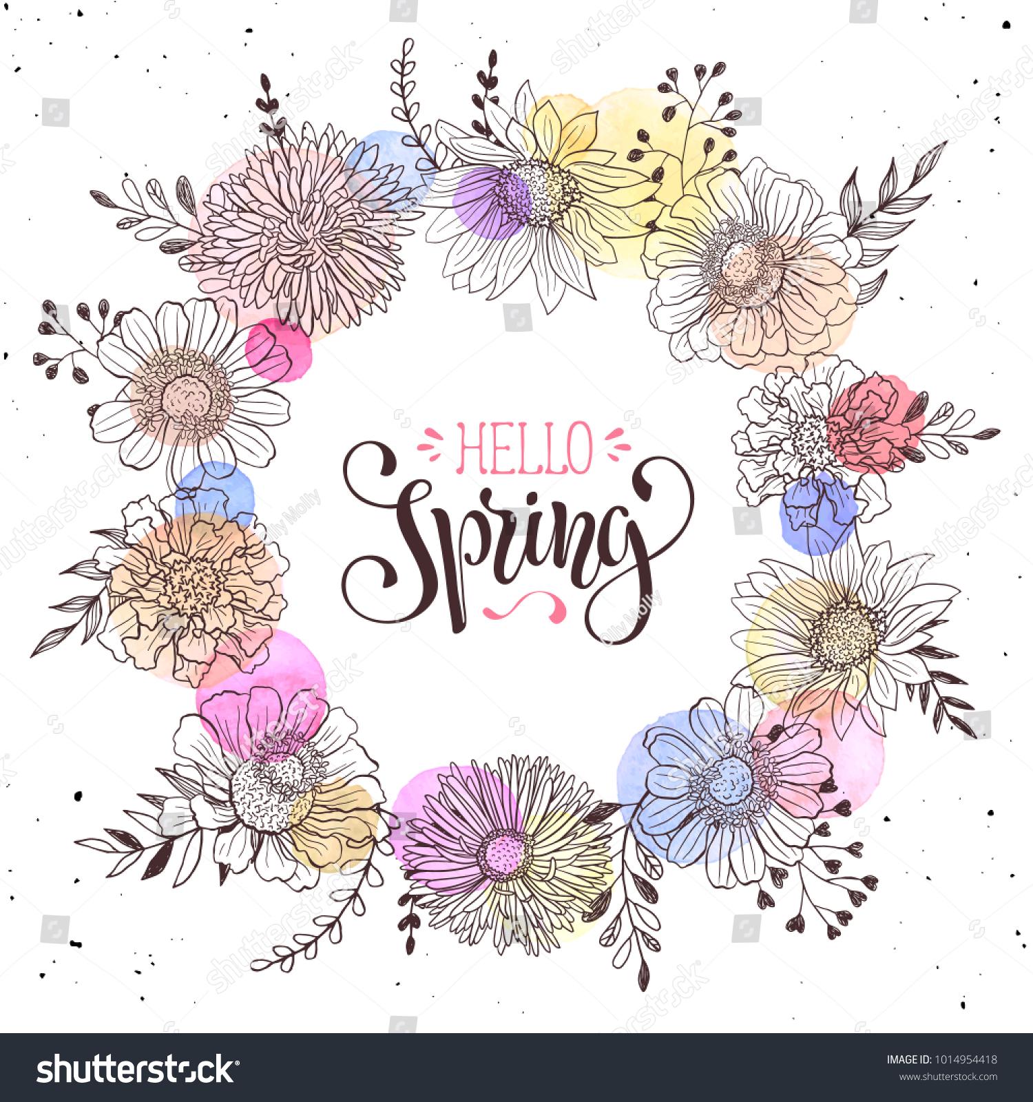 Floral wreath hello spring text romantic stock vector 1014954418 floral wreath hello spring text romantic stock vector 1014954418 shutterstock stopboris Choice Image