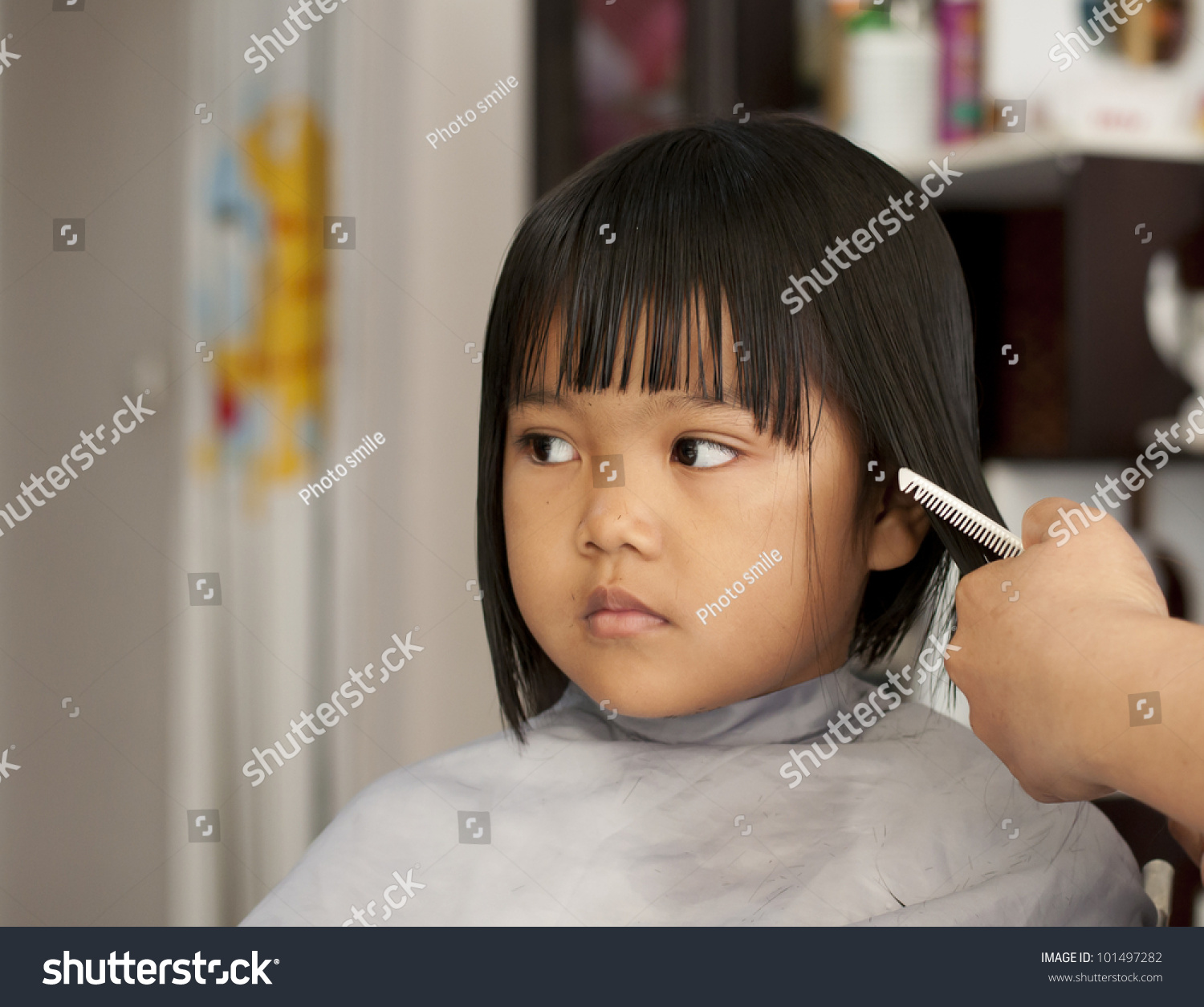 Cute Young Girl Getting Haircut Before Stock Photo Edit Now